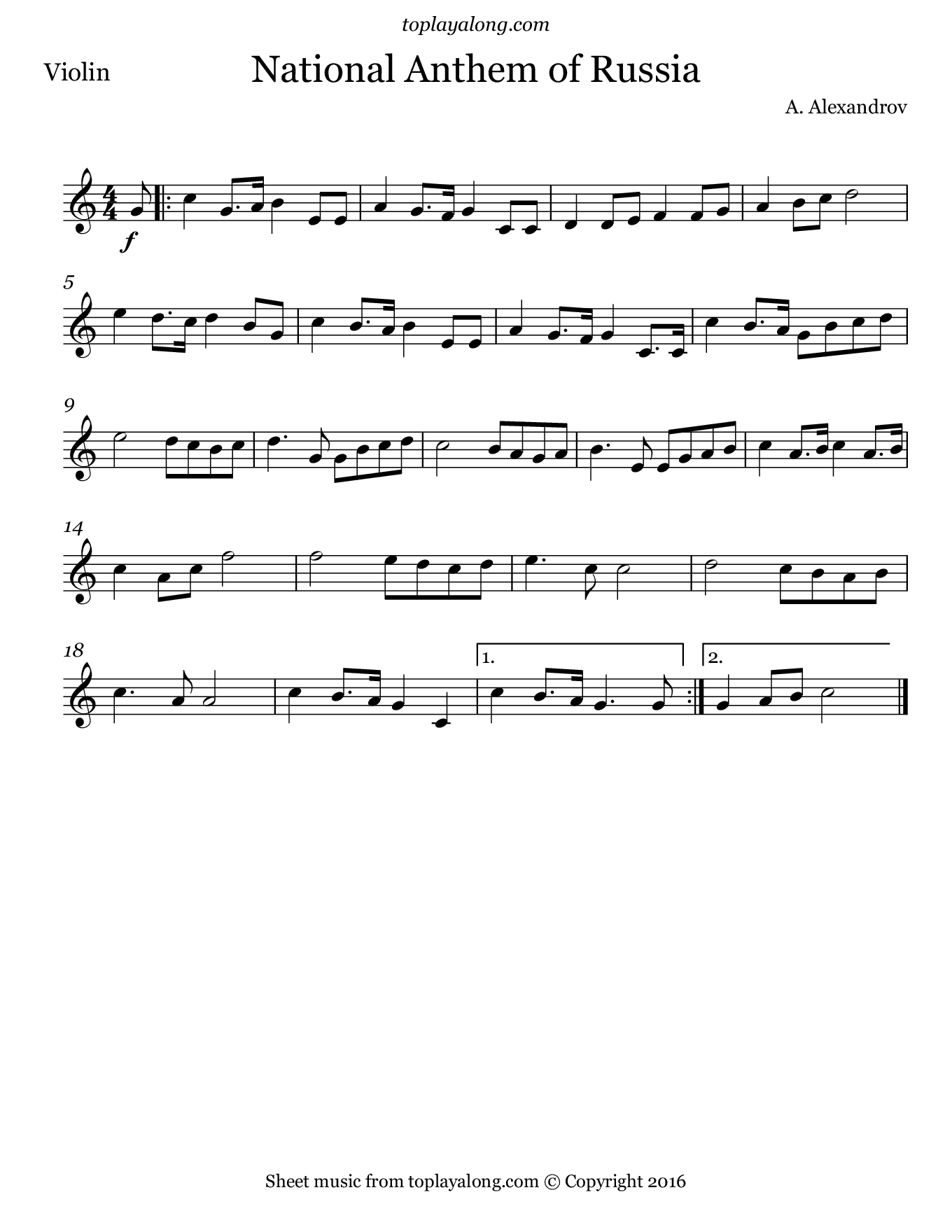 National Anthem of Russia. Sheet music for Violin, page 1.