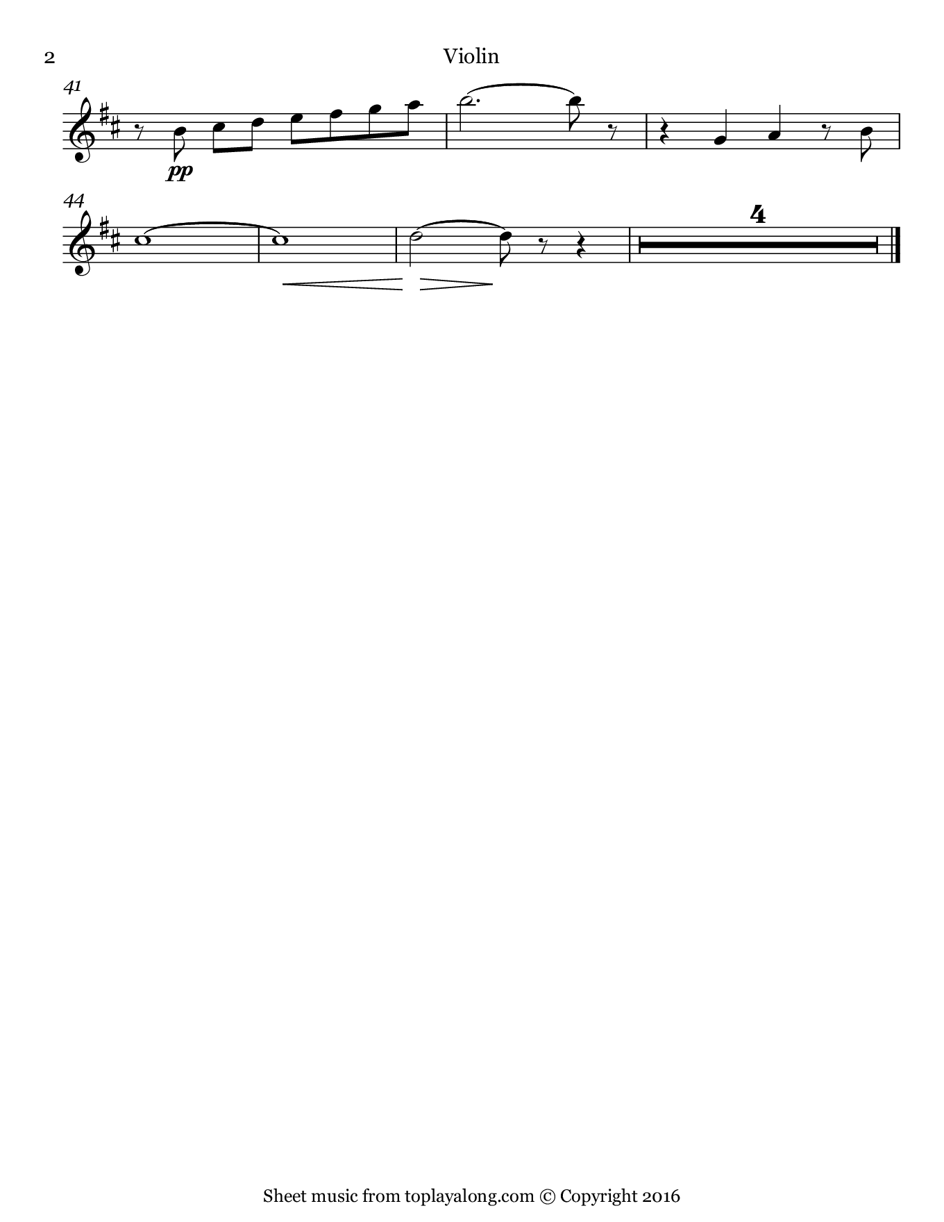 La fleur que tu m'avais jetée from Carmen by Bizet. Sheet music for Violin, page 2.