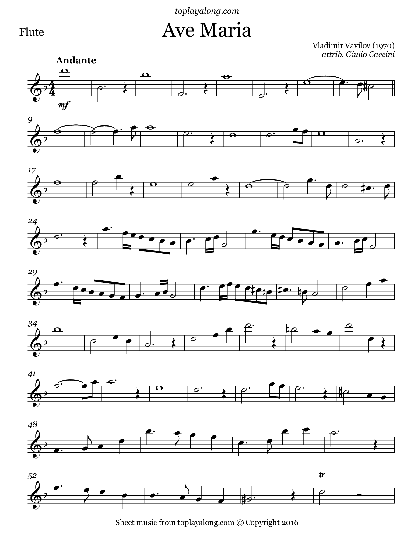 Ave Maria by Vavilov. Sheet music for Flute, page 1.