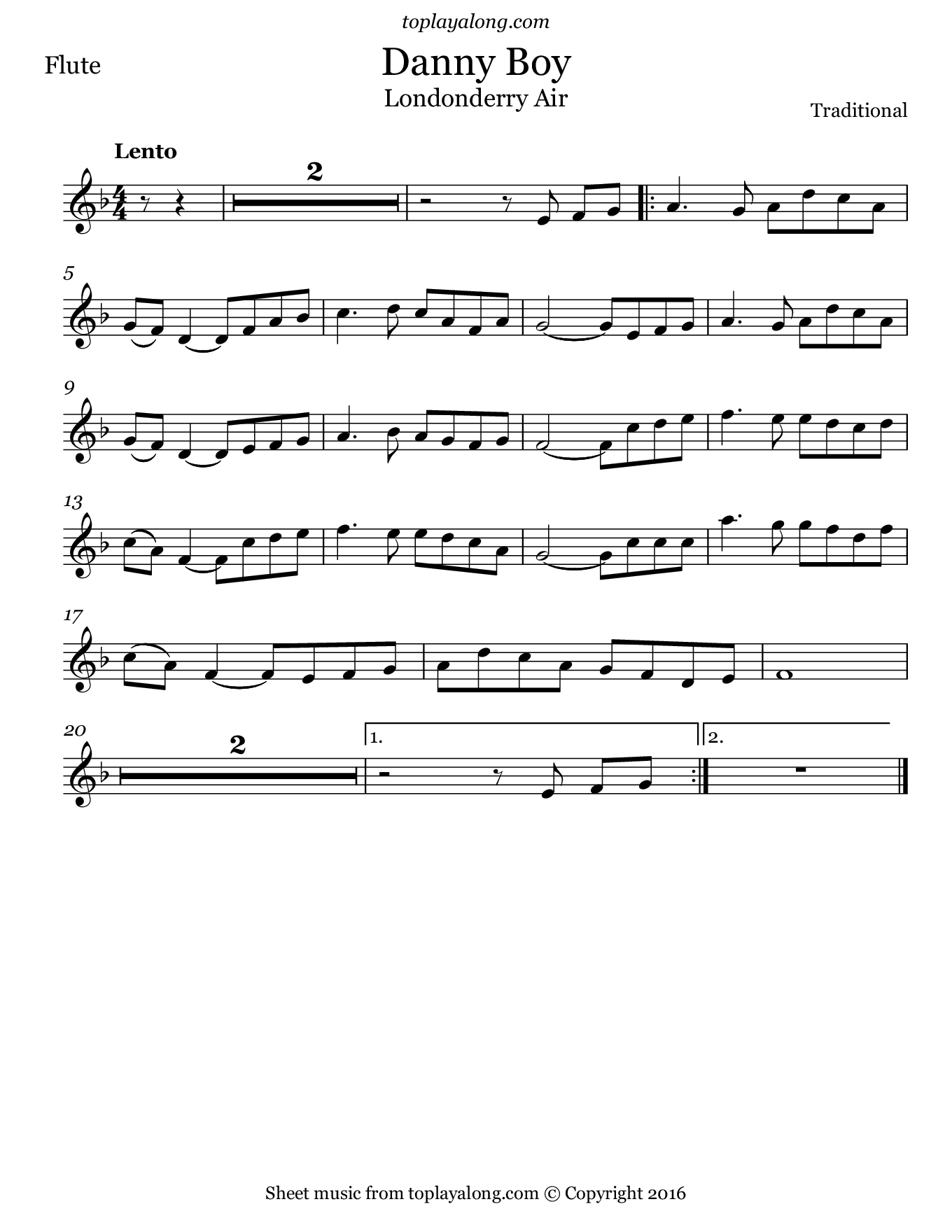 Danny Boy (Londonderry Air). Sheet music for Flute, page 1.
