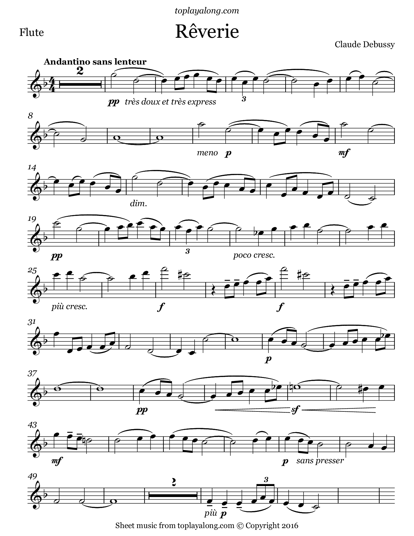 Rêverie by Debussy. Sheet music for Flute, page 1.