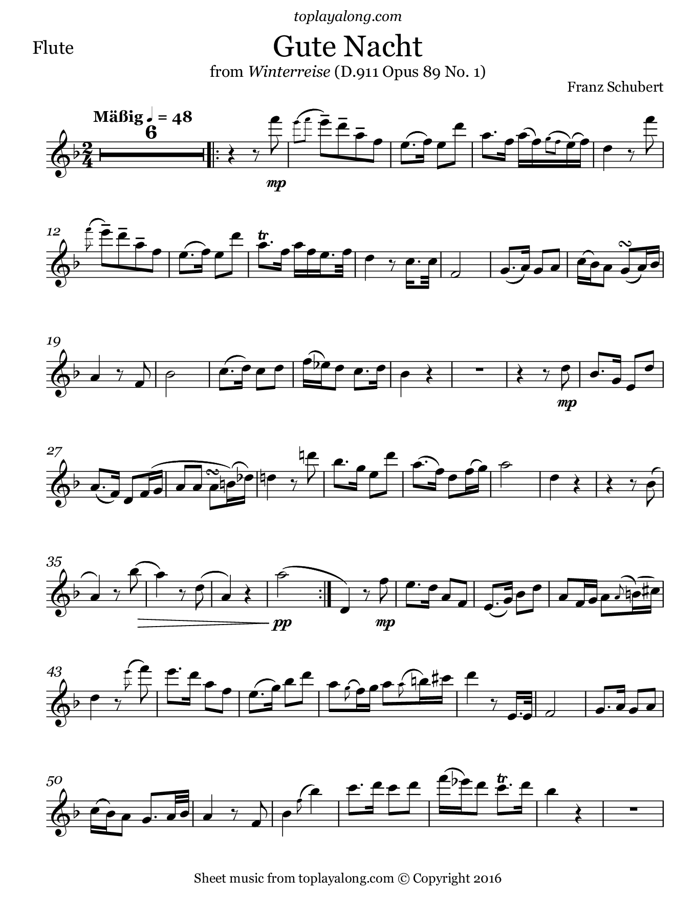 Gute Nacht from Winterreise by Schubert. Sheet music for Flute, page 1.