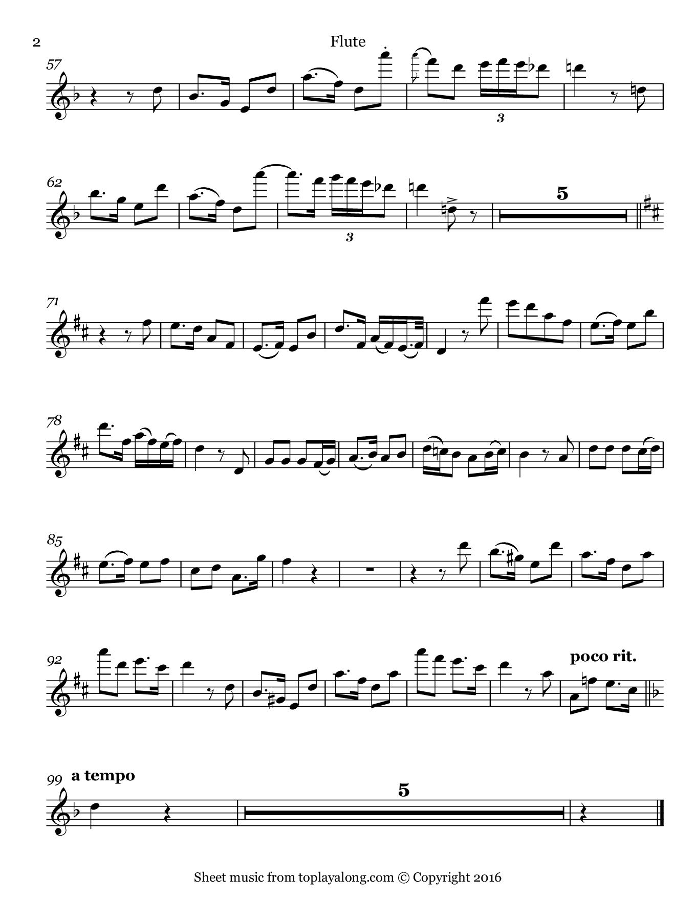 Gute Nacht from Winterreise by Schubert. Sheet music for Flute, page 2.