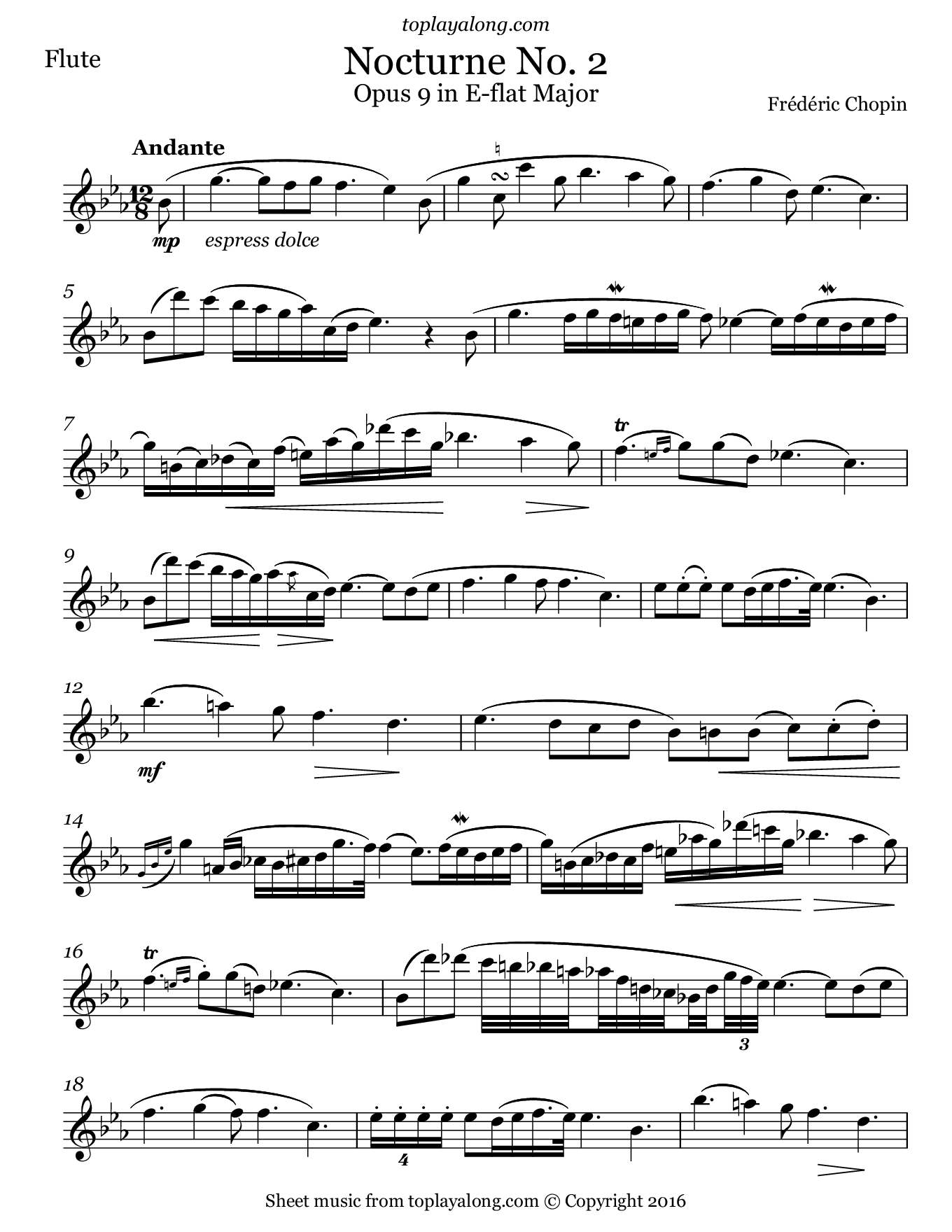 Nocturne No. 2 Op. 9 by Chopin. Sheet music for Flute, page 1.