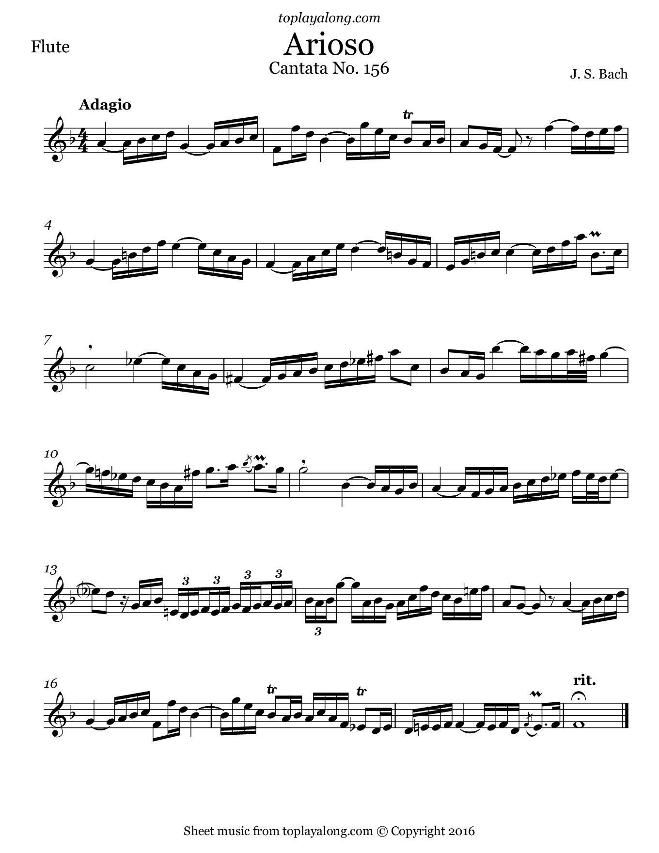 Arioso from Cantata BWV 156 by J. S. Bach. Sheet music for Flute, page 1.