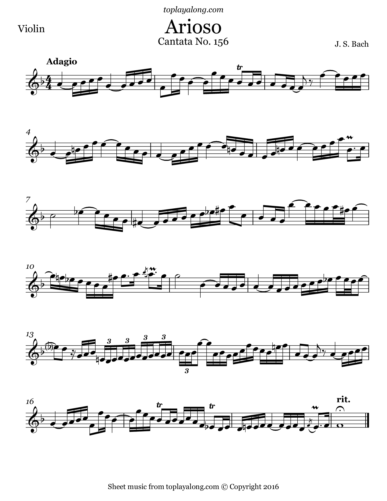 Arioso from Cantata BWV 156 by J. S. Bach. Sheet music for Violin, page 1.