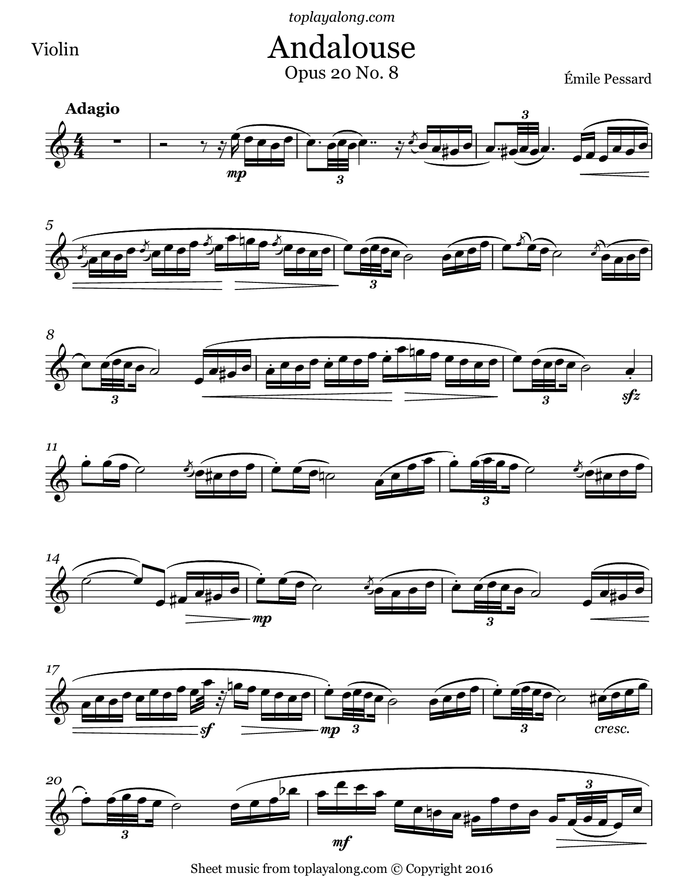 Andalouse by Pessard. Sheet music for Violin, page 1.