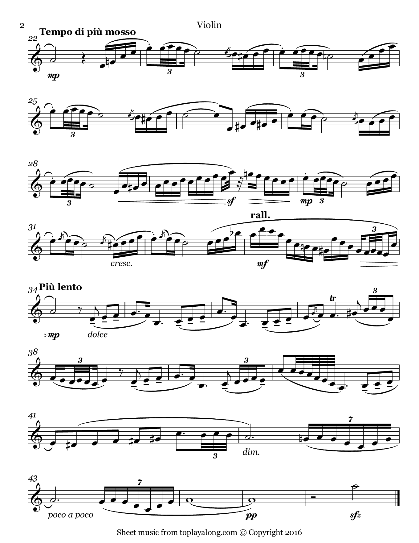 Andalouse by Pessard. Sheet music for Violin, page 2.