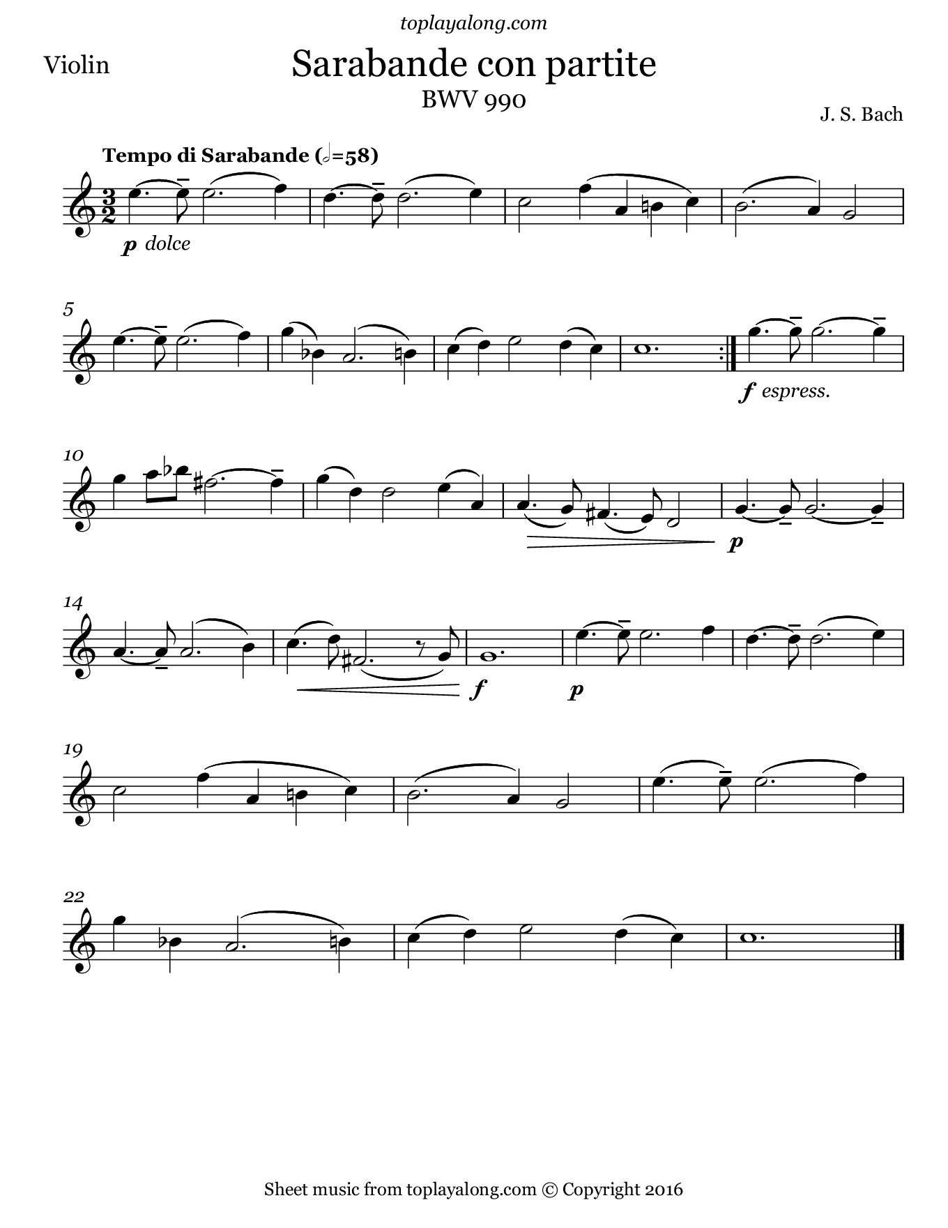 Sarabande con partite by J. S. Bach. Sheet music for Violin, page 1.