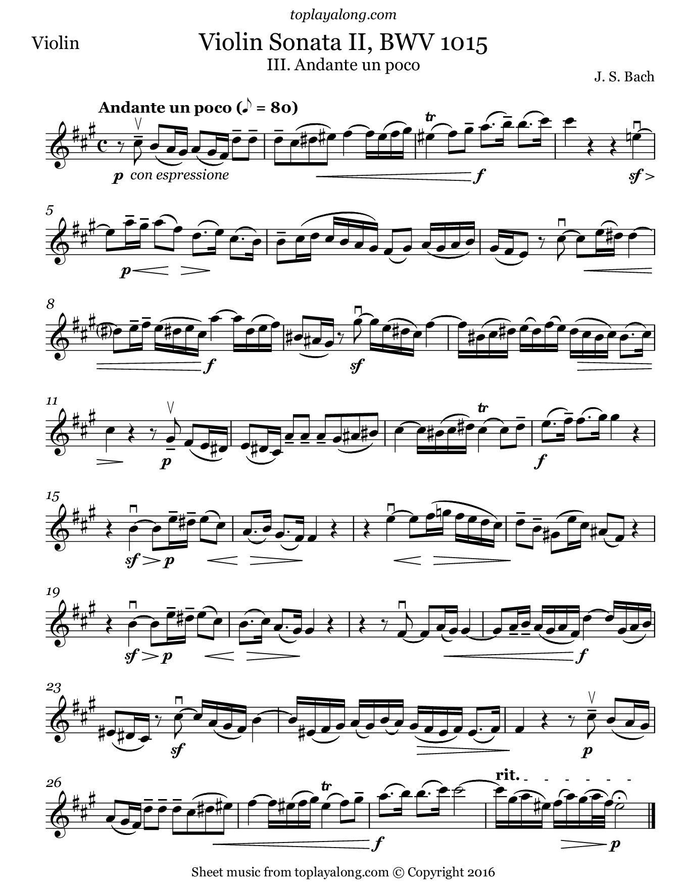 Violin Sonata No. 2 in A major mvt. 3 by J. S. Bach. Sheet music for Violin, page 1.