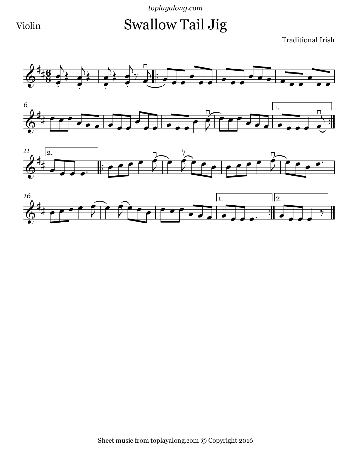 The Swallowtail Jig. Sheet music for Violin, page 1.