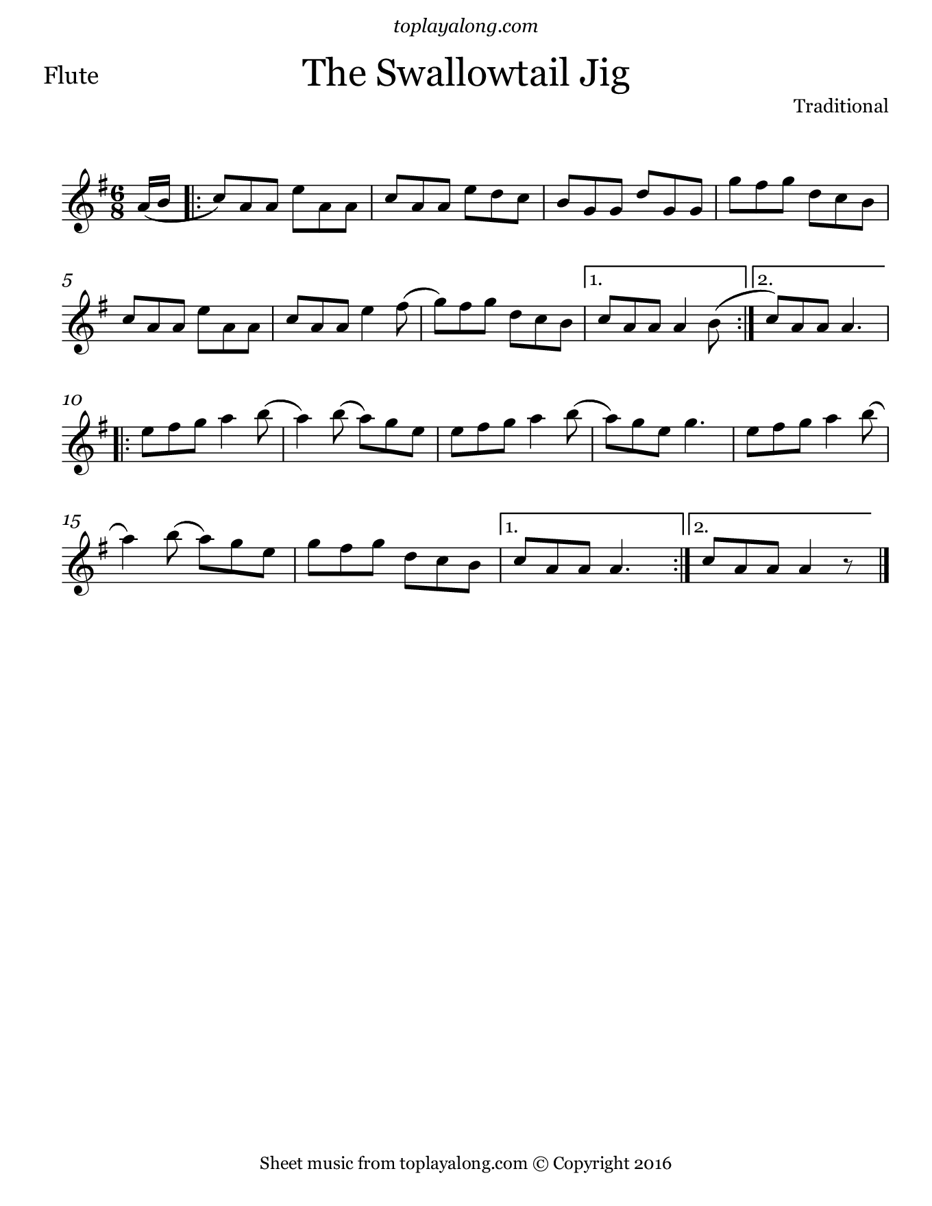 The Swallowtail Jig. Sheet music for Flute, page 1.