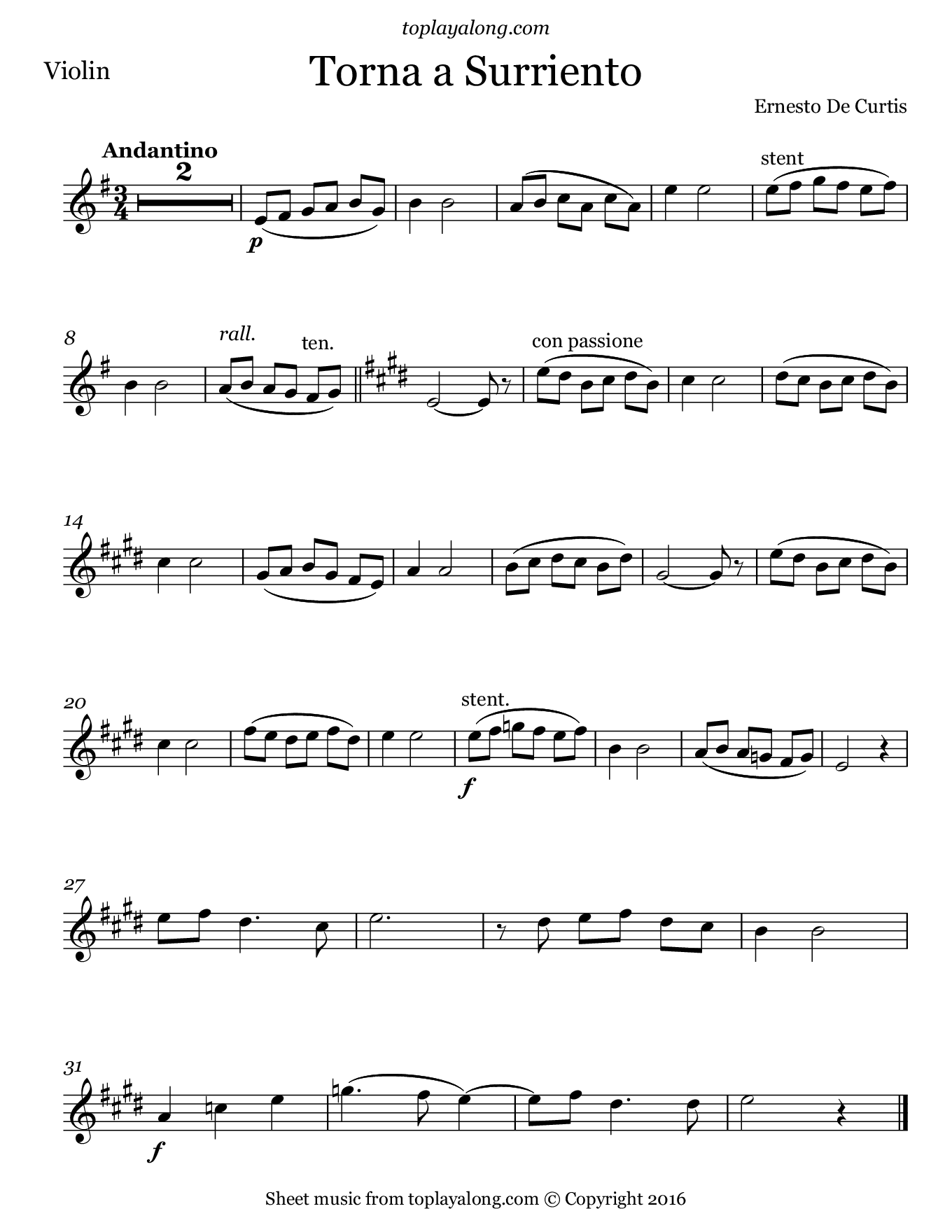 Torna a Surriento by Curtis. Sheet music for Violin, page 1.