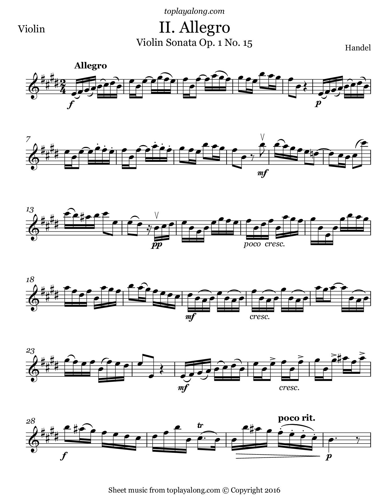 Violin Sonata Op. 1 No. 15 (II. Allegro) by Handel. Sheet music for Violin, page 1.