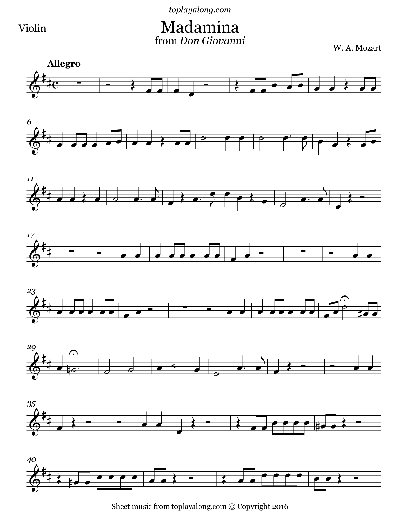 Madamina from Don Giovanni by Mozart. Sheet music for Violin, page 1.