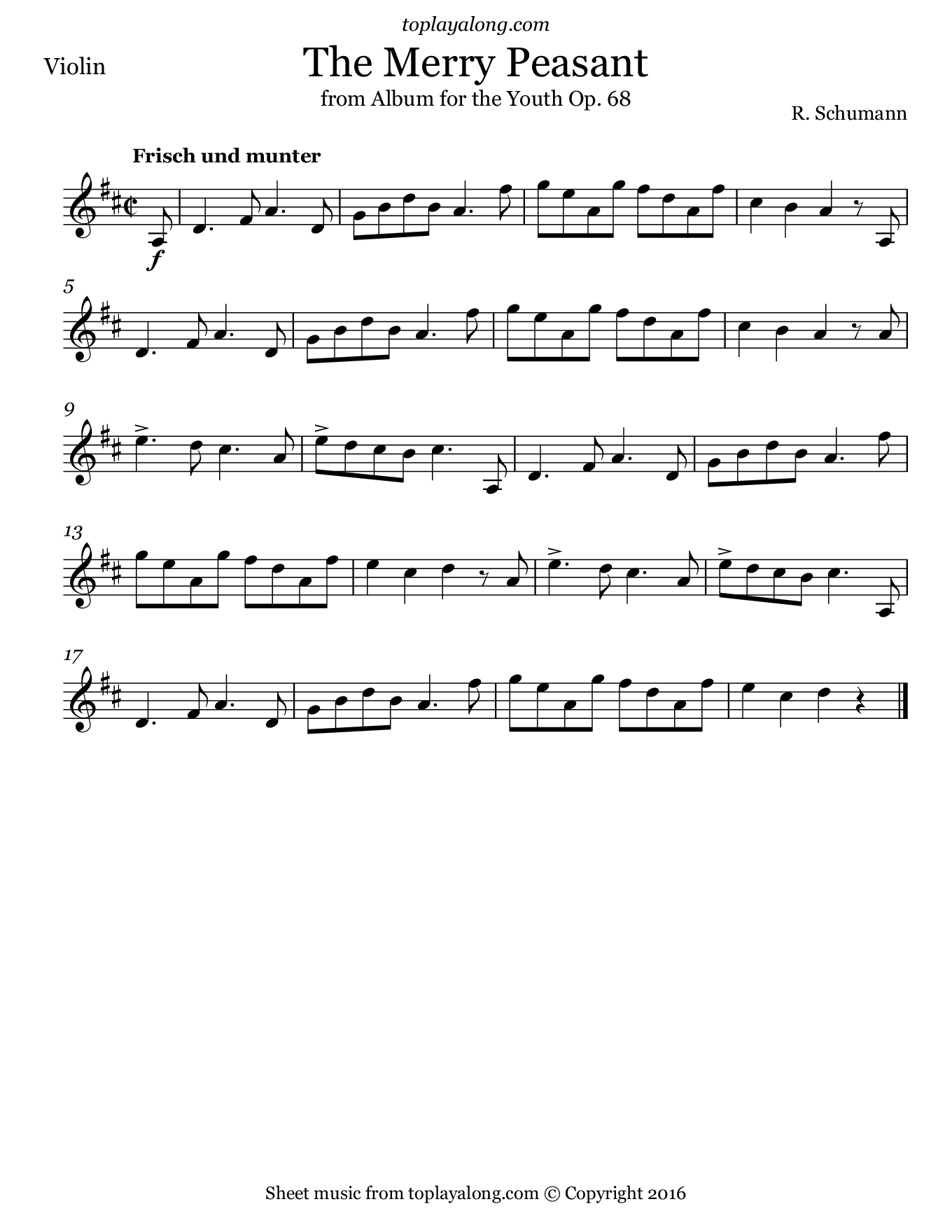 The Merry Peasant by Schumann. Sheet music for Violin, page 1.