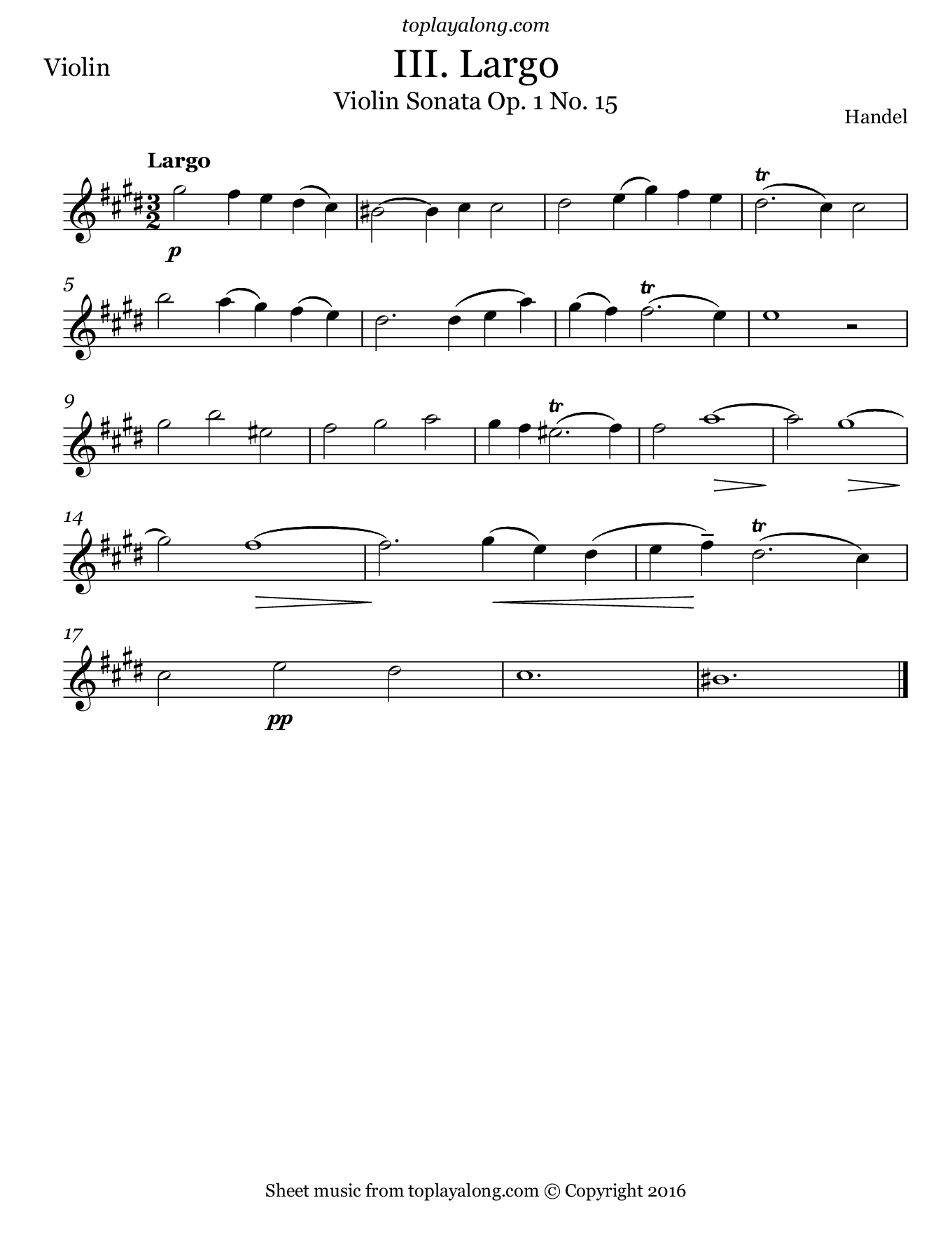 Violin Sonata Op. 1 No. 15 (III. Largo) by Handel. Sheet music for Violin, page 1.
