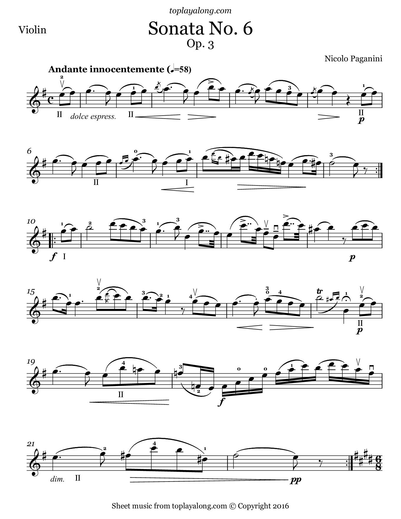 Sonata No. 6 Op. 3 by Paganini. Sheet music for Violin, page 1.