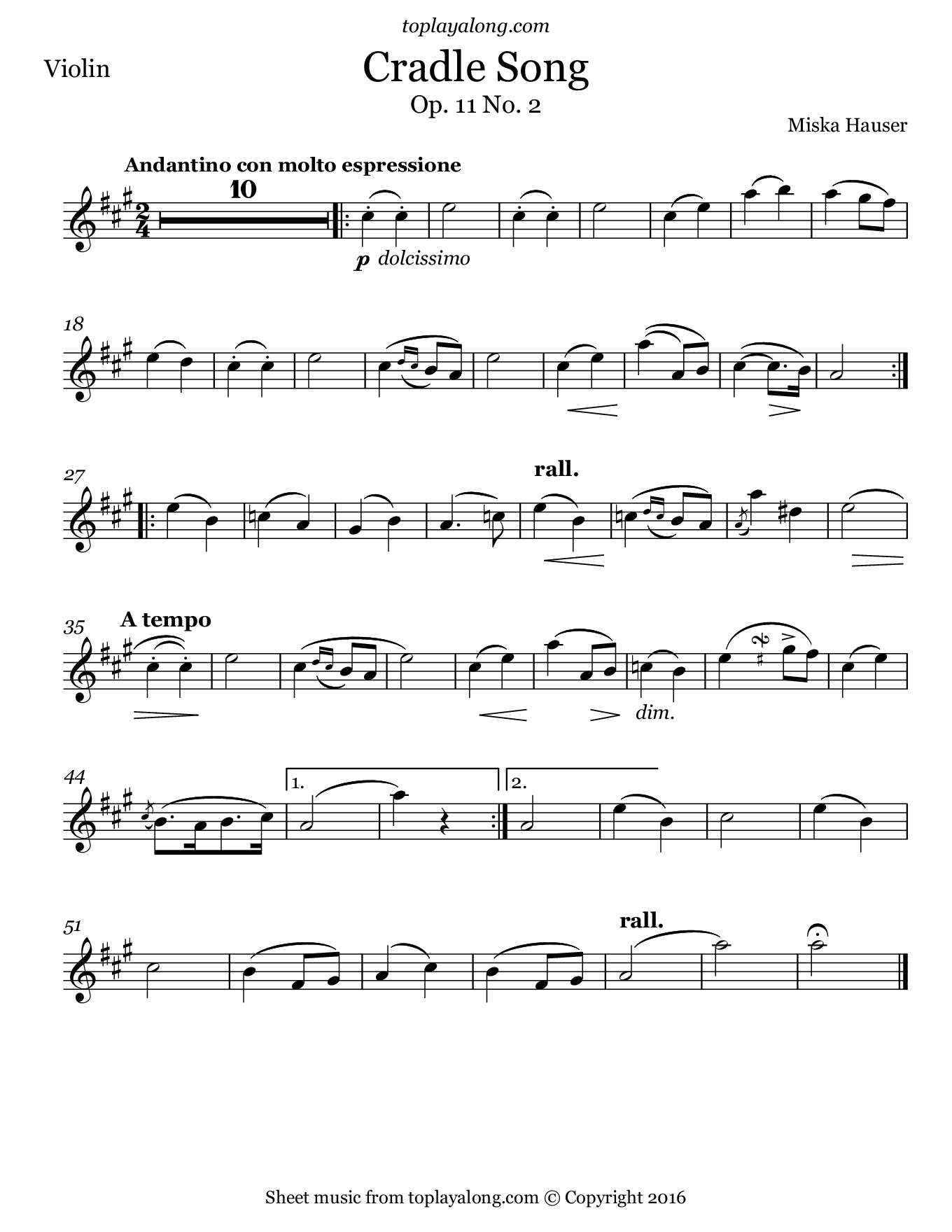 Cradle Song by Hauser. Sheet music for Violin, page 1.