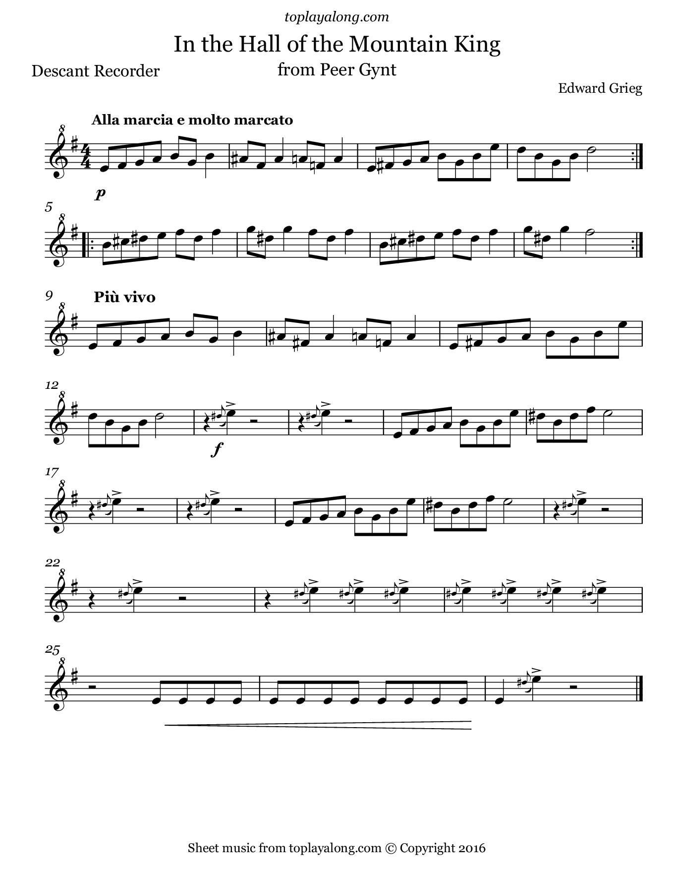 In the Hall of the Mountain King by Grieg. Sheet music for Recorder, page 1.