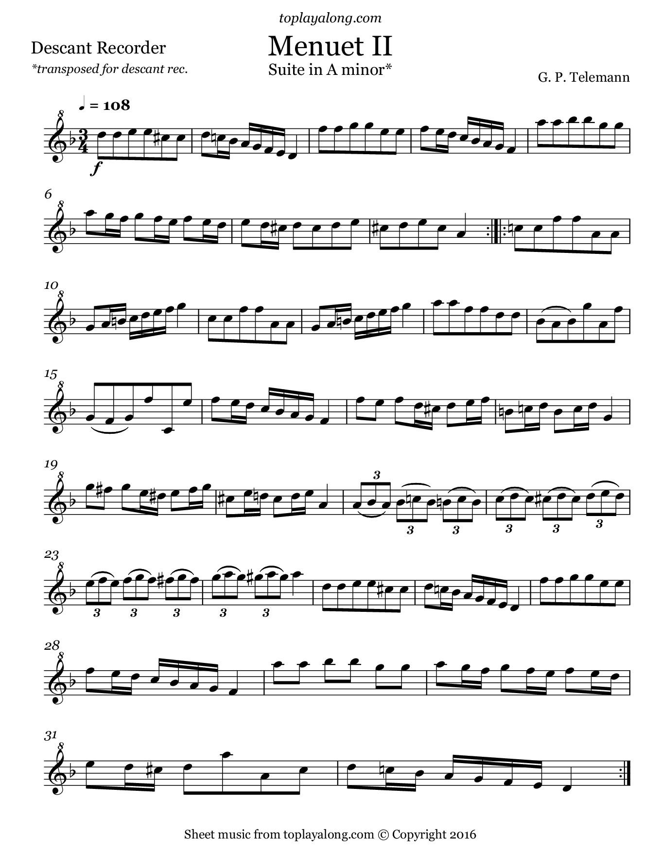 Minuet II from Suite in A minor by Telemann. Sheet music for Recorder, page 1.