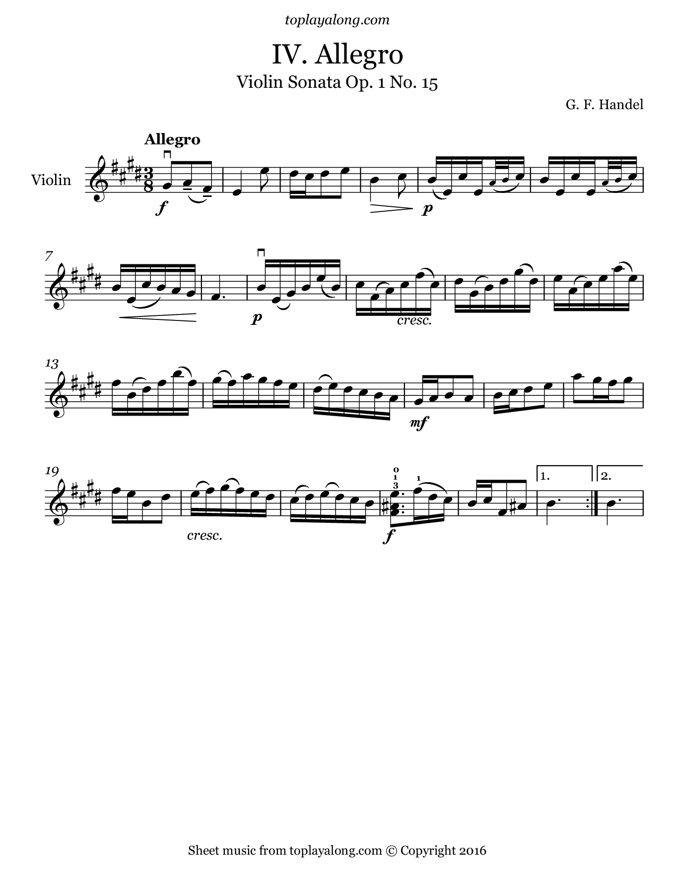 Violin Sonata Op. 1 No. 15 (IV. Allegro) by Handel. Sheet music for Violin, page 1.