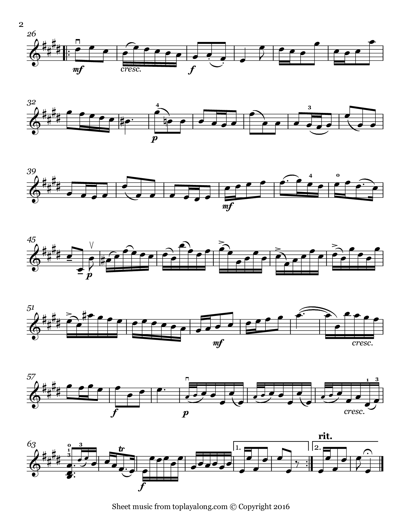 Violin Sonata Op. 1 No. 15 (IV. Allegro) by Handel. Sheet music for Violin, page 2.