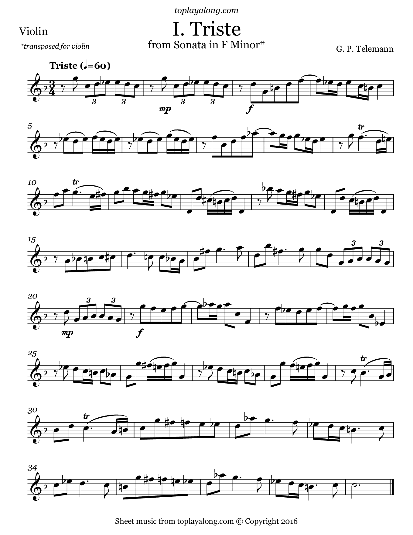 Sonata in F minor (I. Triste) by Telemann. Sheet music for Violin, page 1.