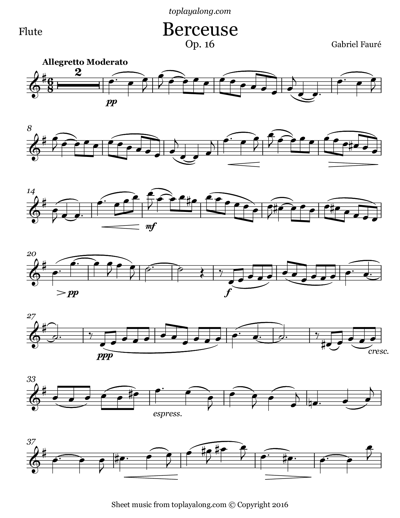 Berceuse by Fauré. Sheet music for Flute, page 1.