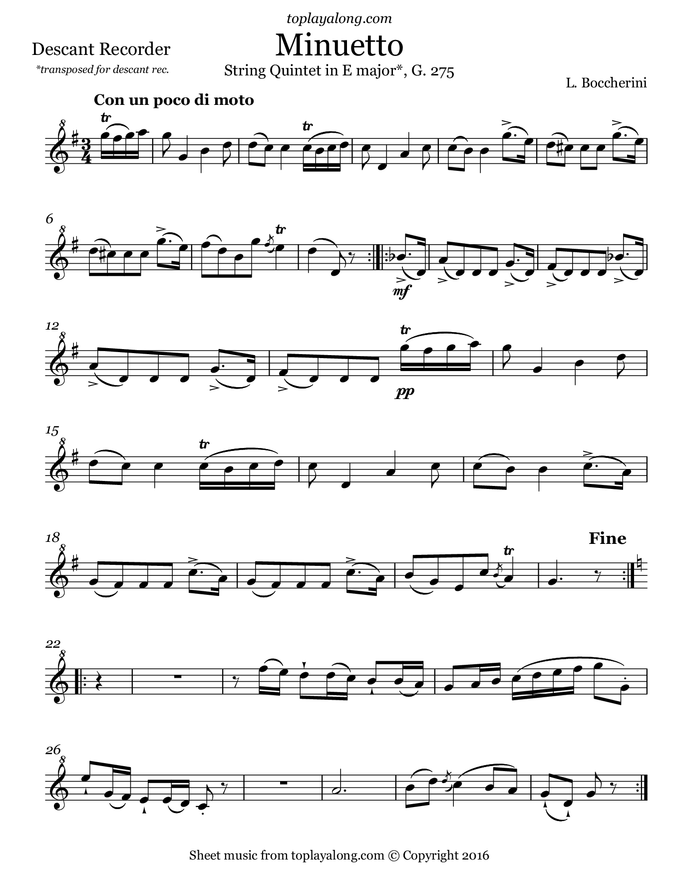 Minuetto from String Quintet in E major by Boccherini. Sheet music for Recorder, page 1.