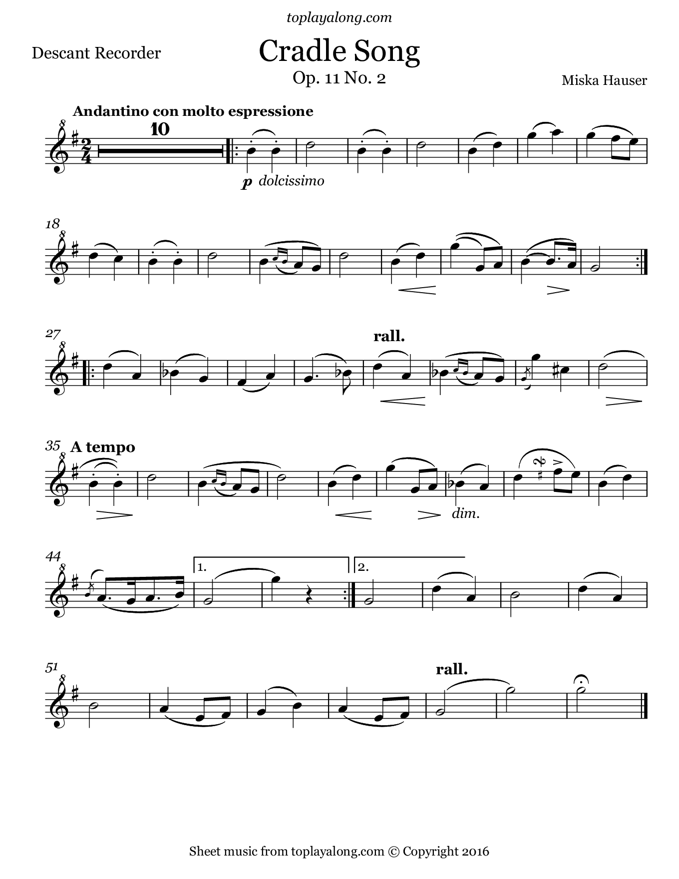 Cradle Song by Hauser. Sheet music for Recorder, page 1.