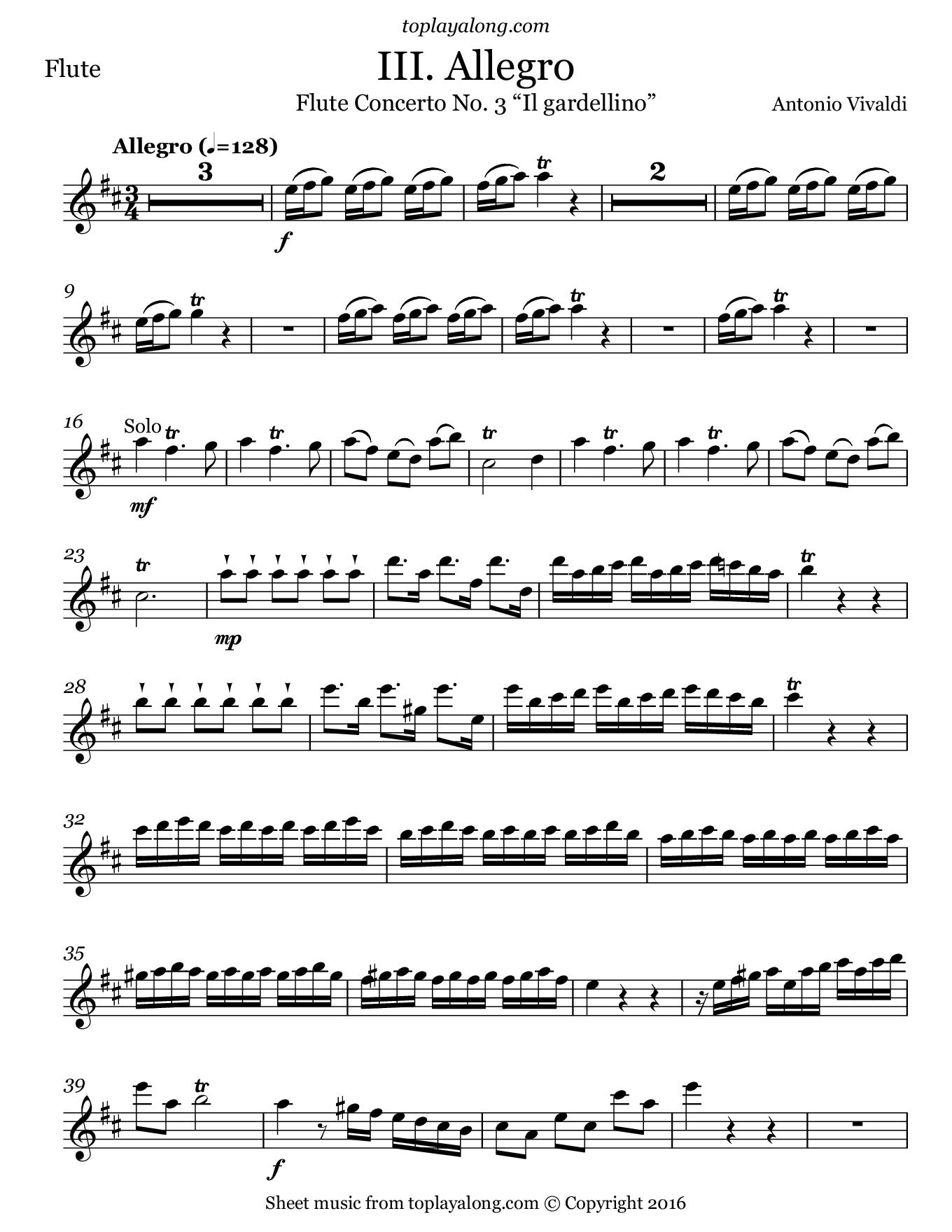 Concerto No. 3 Il gardellino (III. Allegro) by Vivaldi. Sheet music for Flute, page 1.