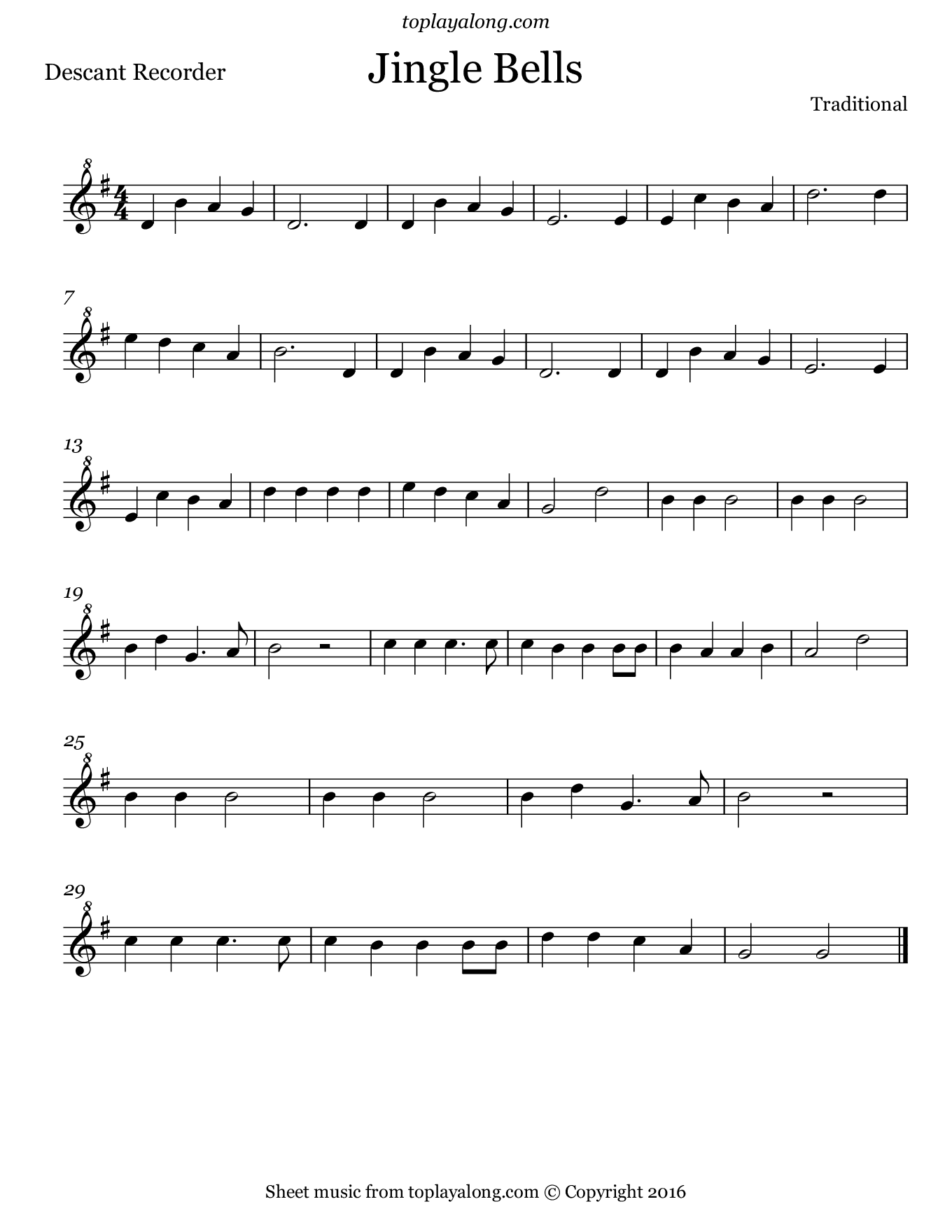 Jingle Bells. Sheet music for Recorder, page 1.