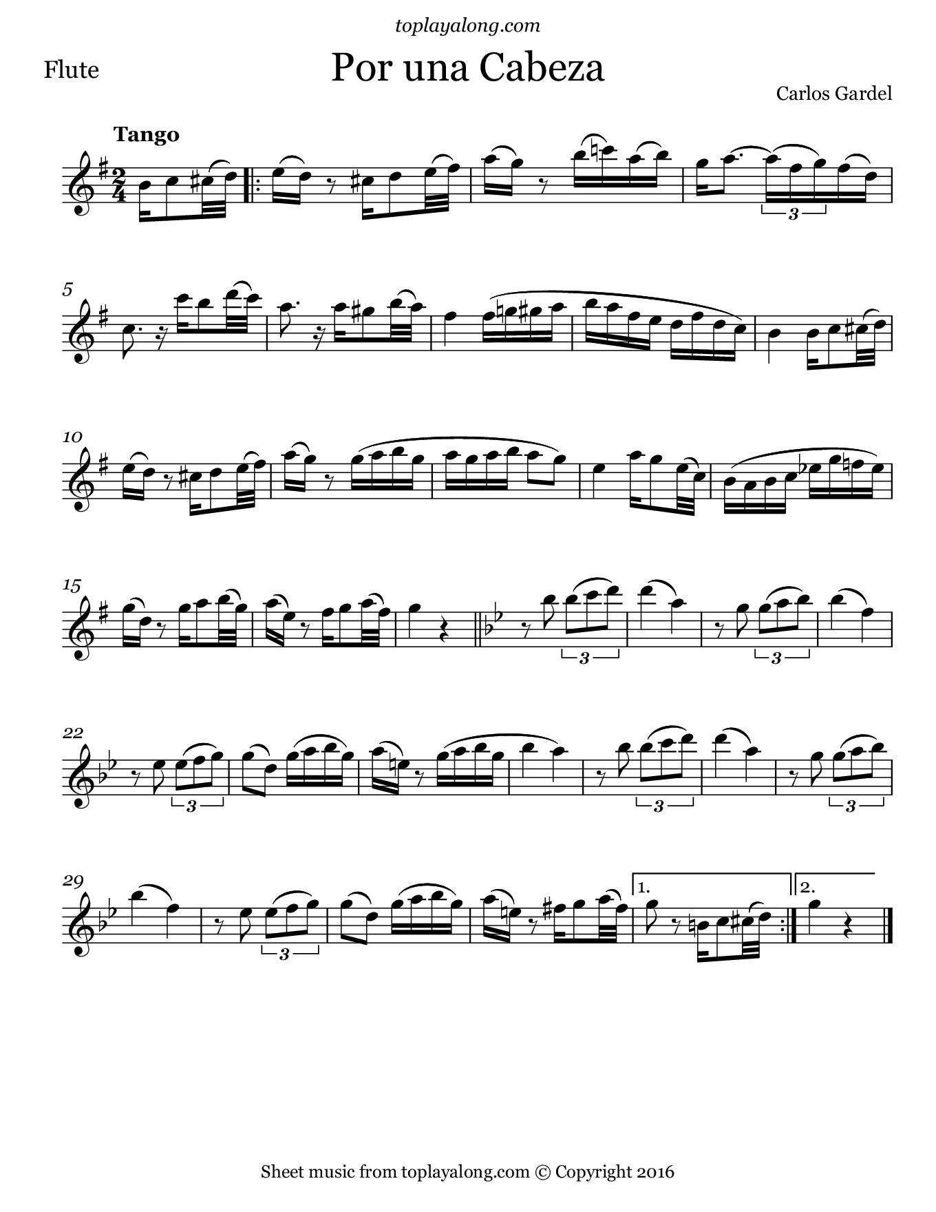 Por Una Cabeza by Carlos Gardel. Sheet music for Flute, page 1.
