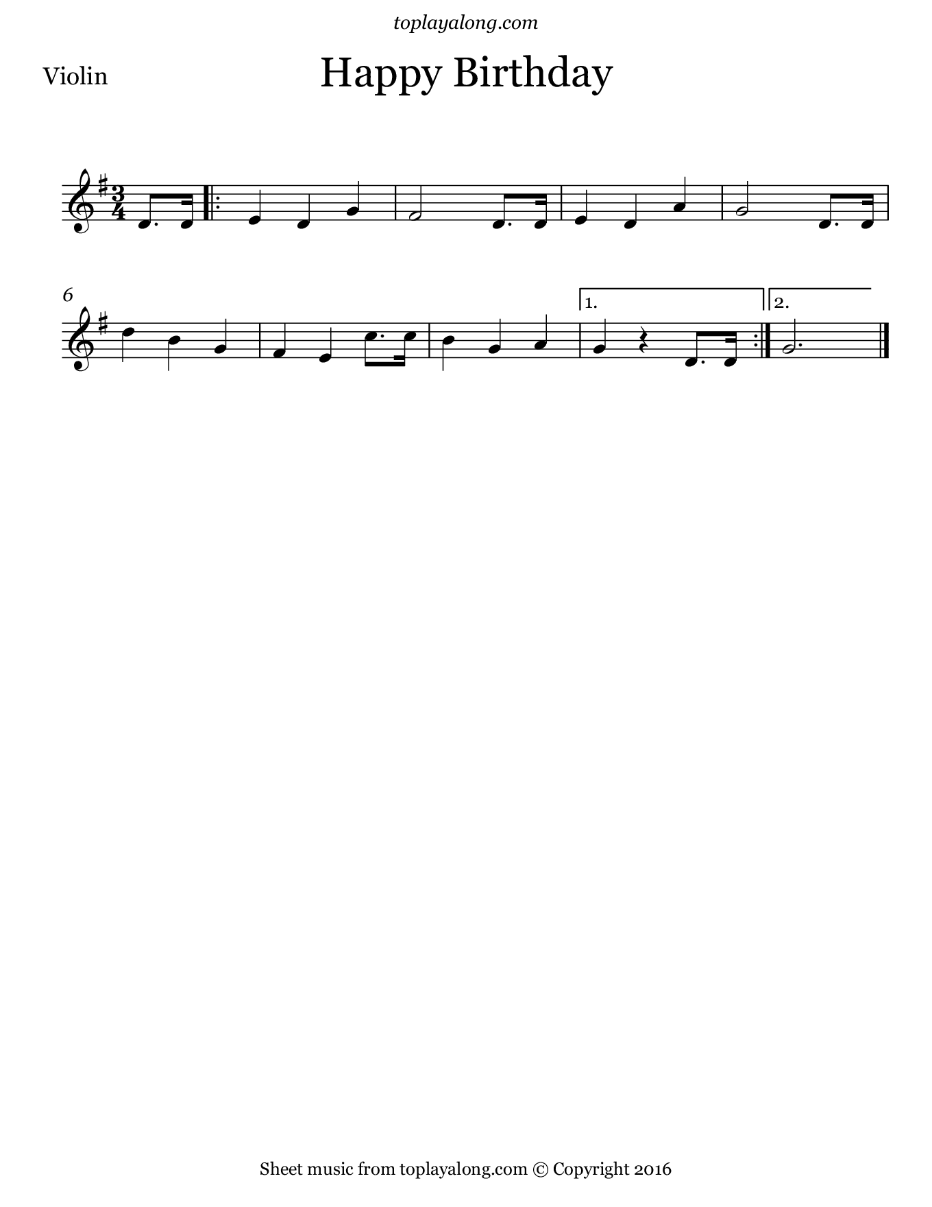 Happy Birthday. Sheet music for Violin, page 1.