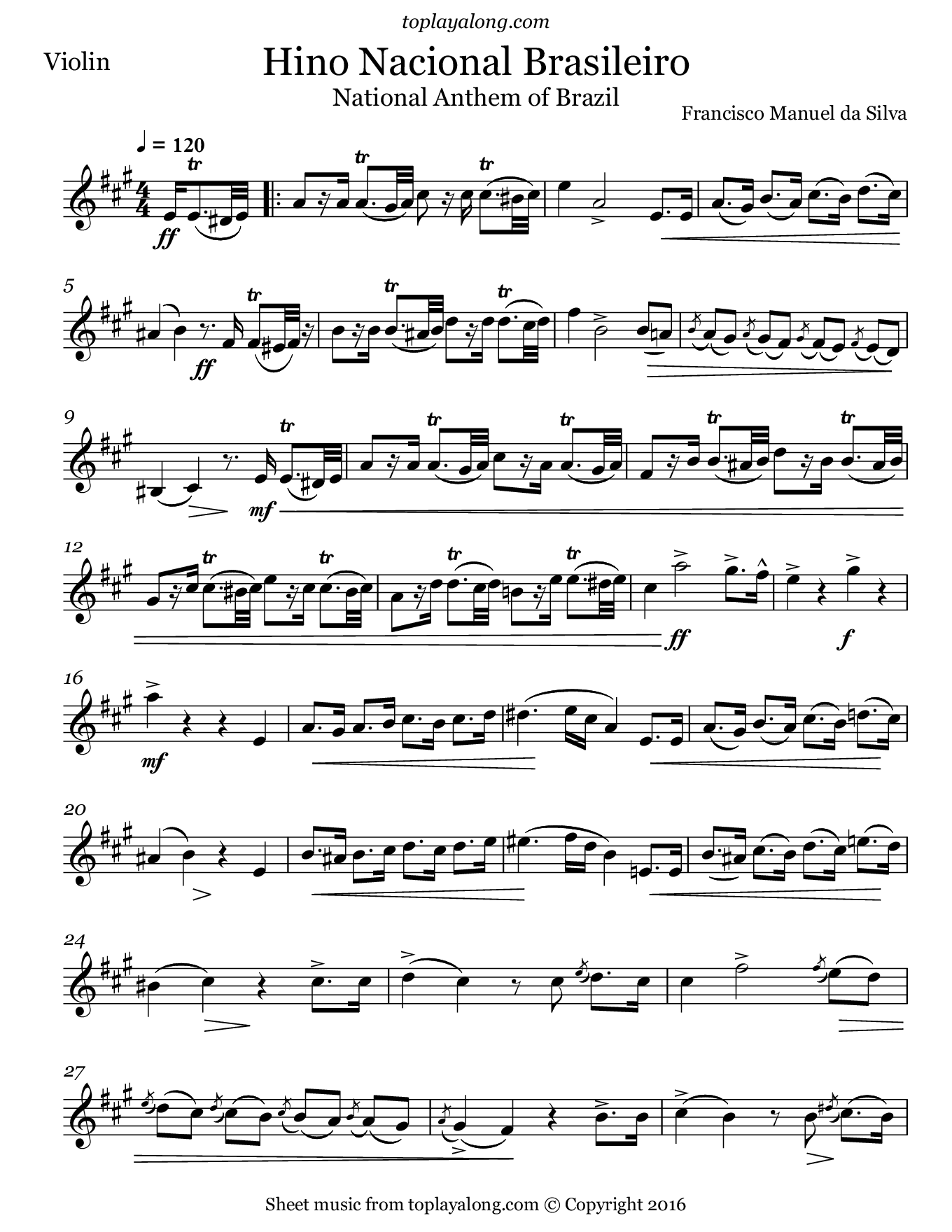 National Anthem of Brazil. Sheet music for Violin, page 1.