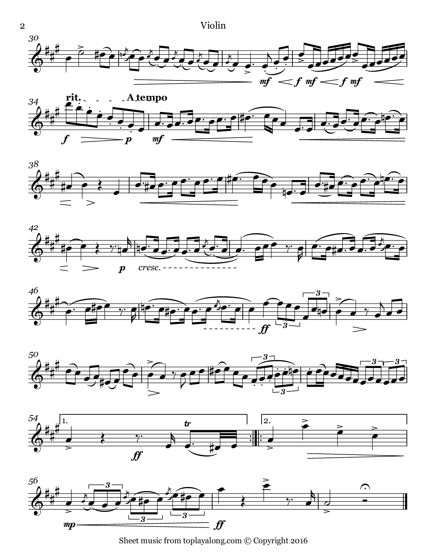 National Anthem of Brazil. Sheet music for Violin, page 2.