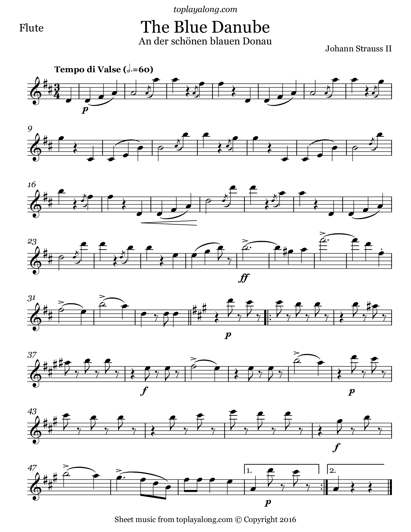 The Blue Danube Waltz by Strauss. Sheet music for Flute, page 1.