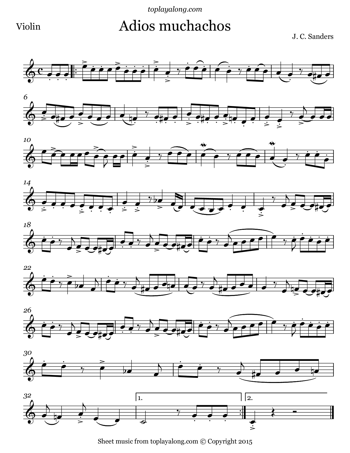 Adios Muchachos by Sanders. Sheet music for Violin, page 1.