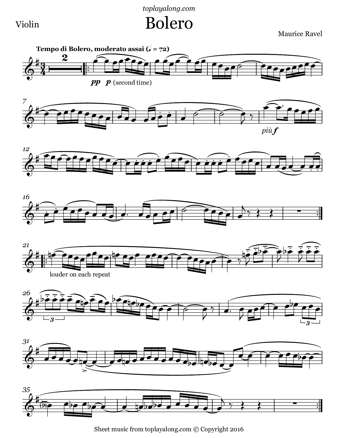 Bolero by Ravel. Sheet music for Violin, page 1.