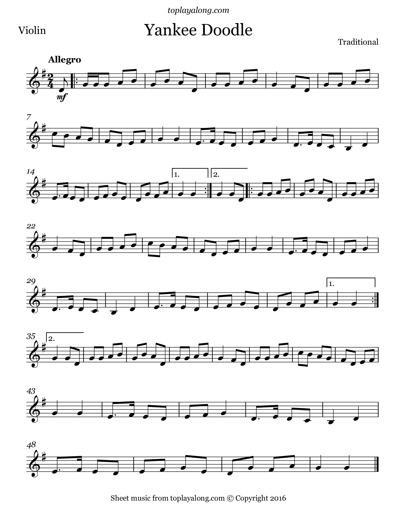 Yankee Doodle. Sheet music for Violin, page 1.