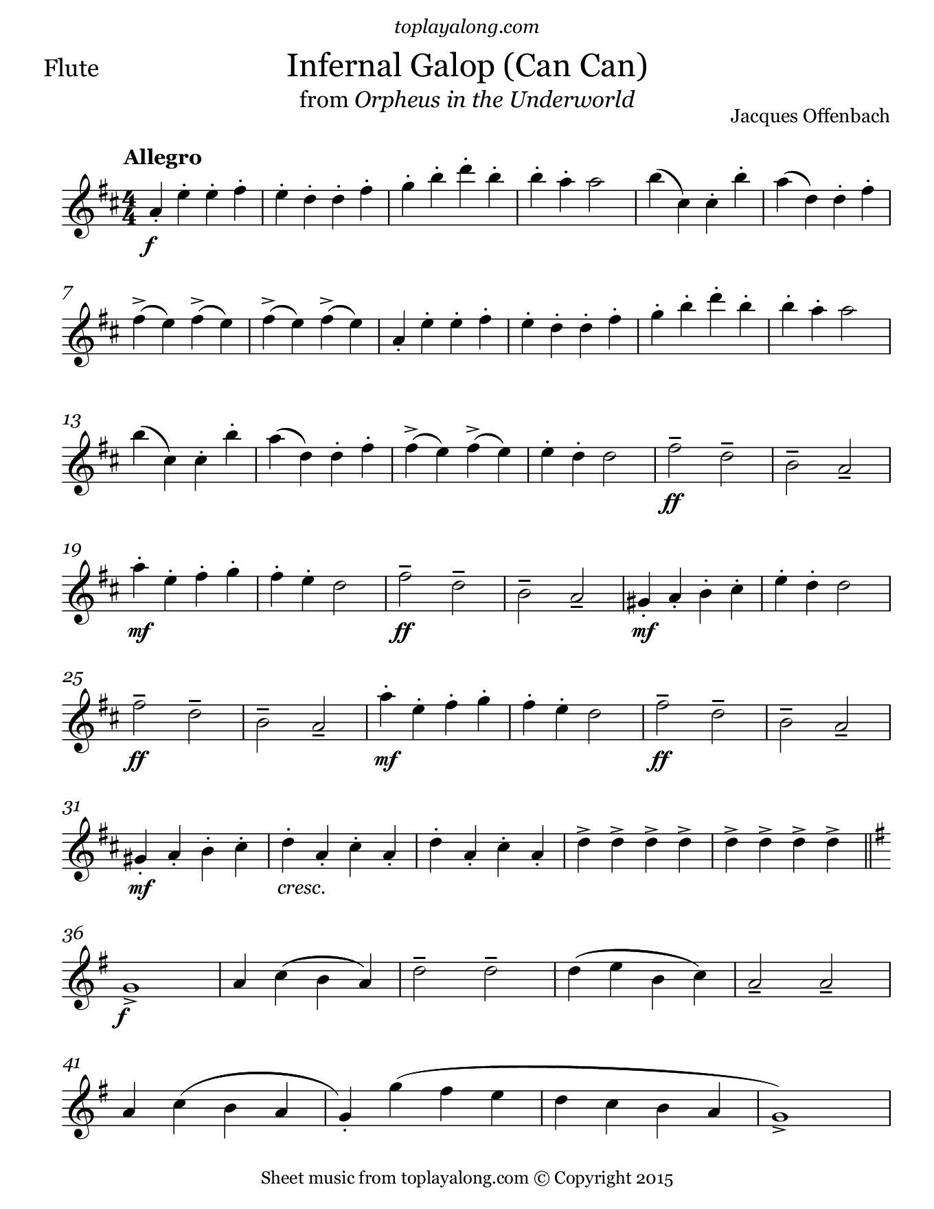 Infernal Galop (Can Can) from Orpheus by Offenbach. Sheet music for Flute, page 1.
