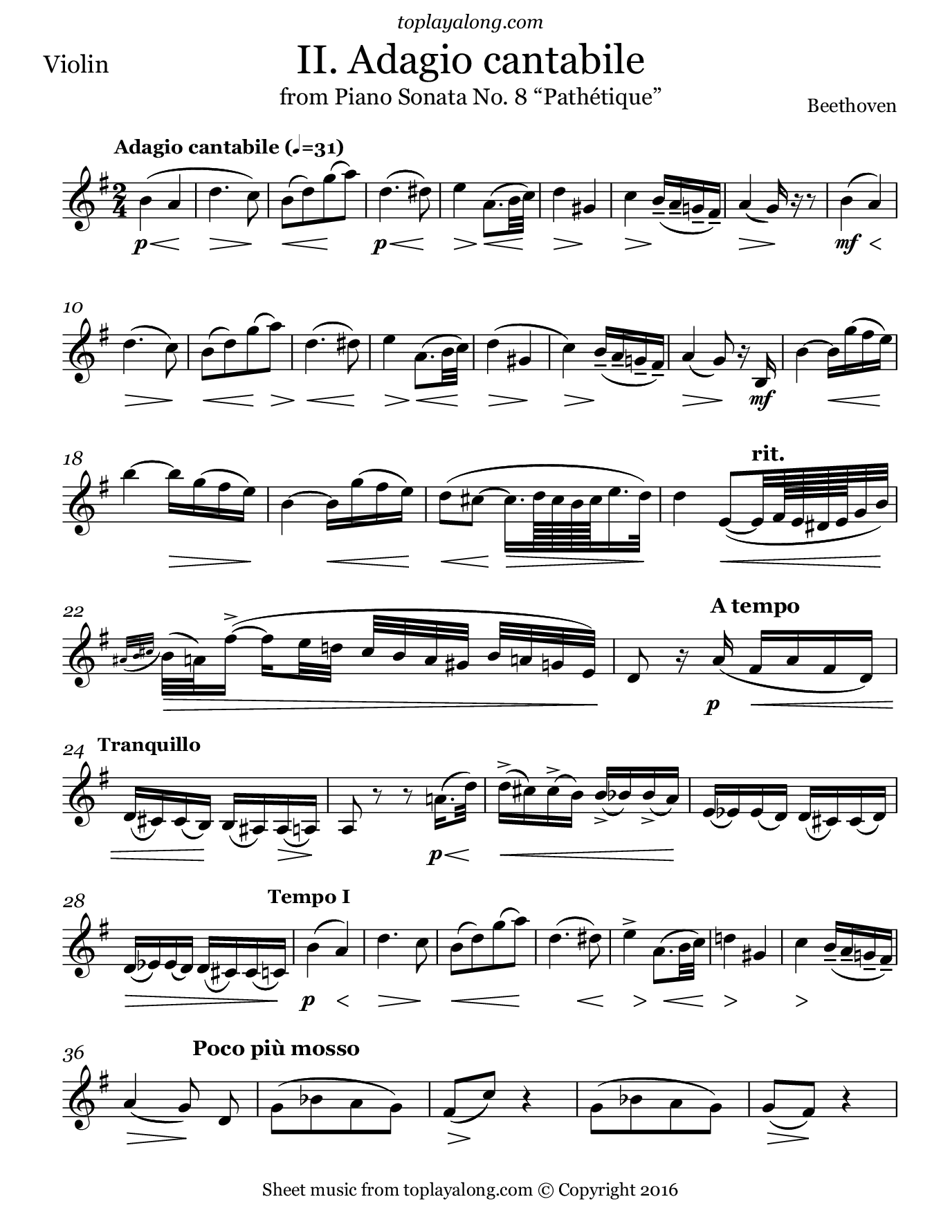 Sonata No. 8 Pathetique (II. Adagio cantabile) by Beethoven. Sheet music for Violin, page 1.