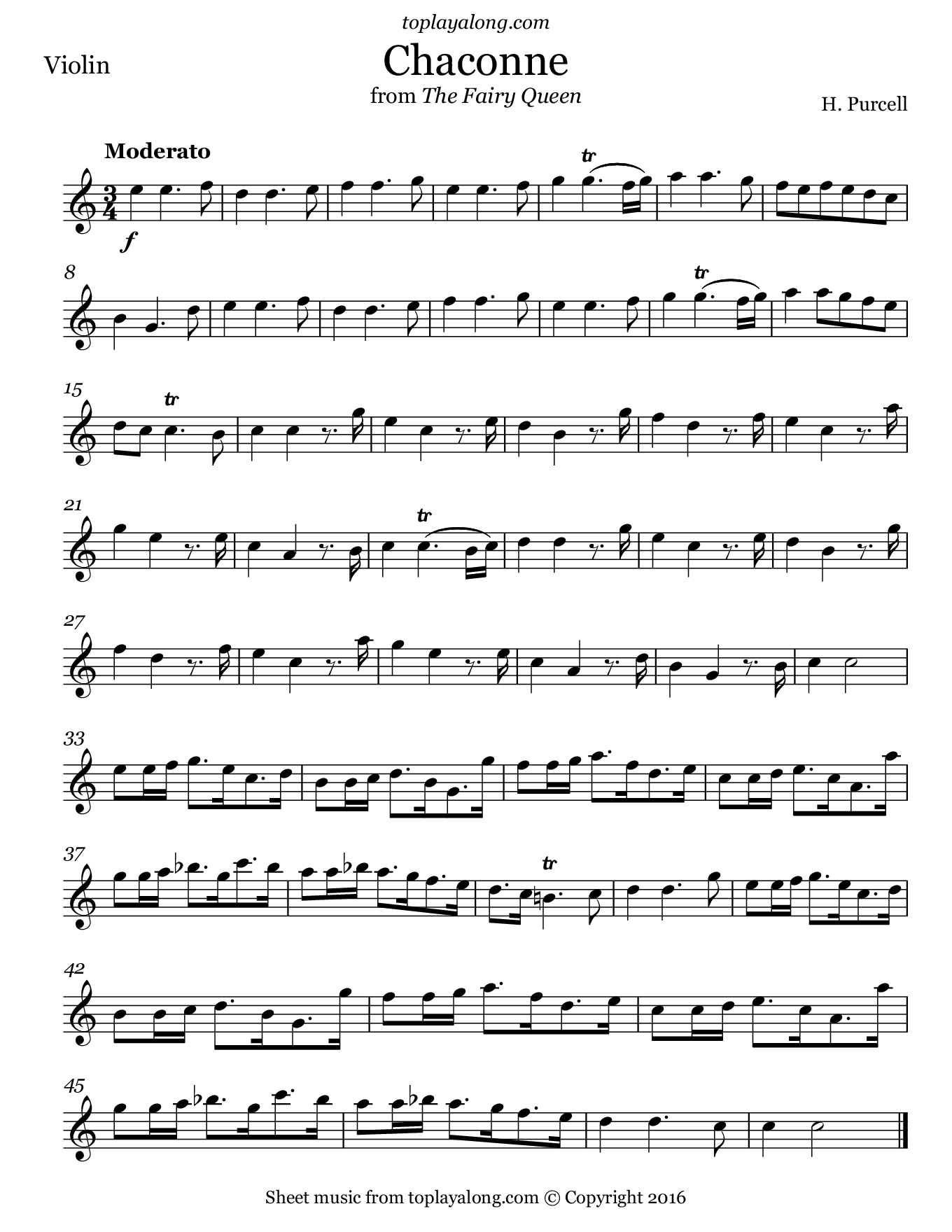 Chaconne from The Fairy Queen by Purcell. Sheet music for Violin, page 1.
