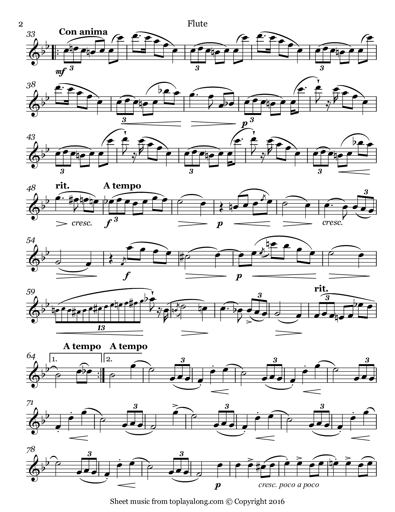L'adieu Waltz Op. 69 No. 1 by Chopin. Sheet music for Flute, page 2.