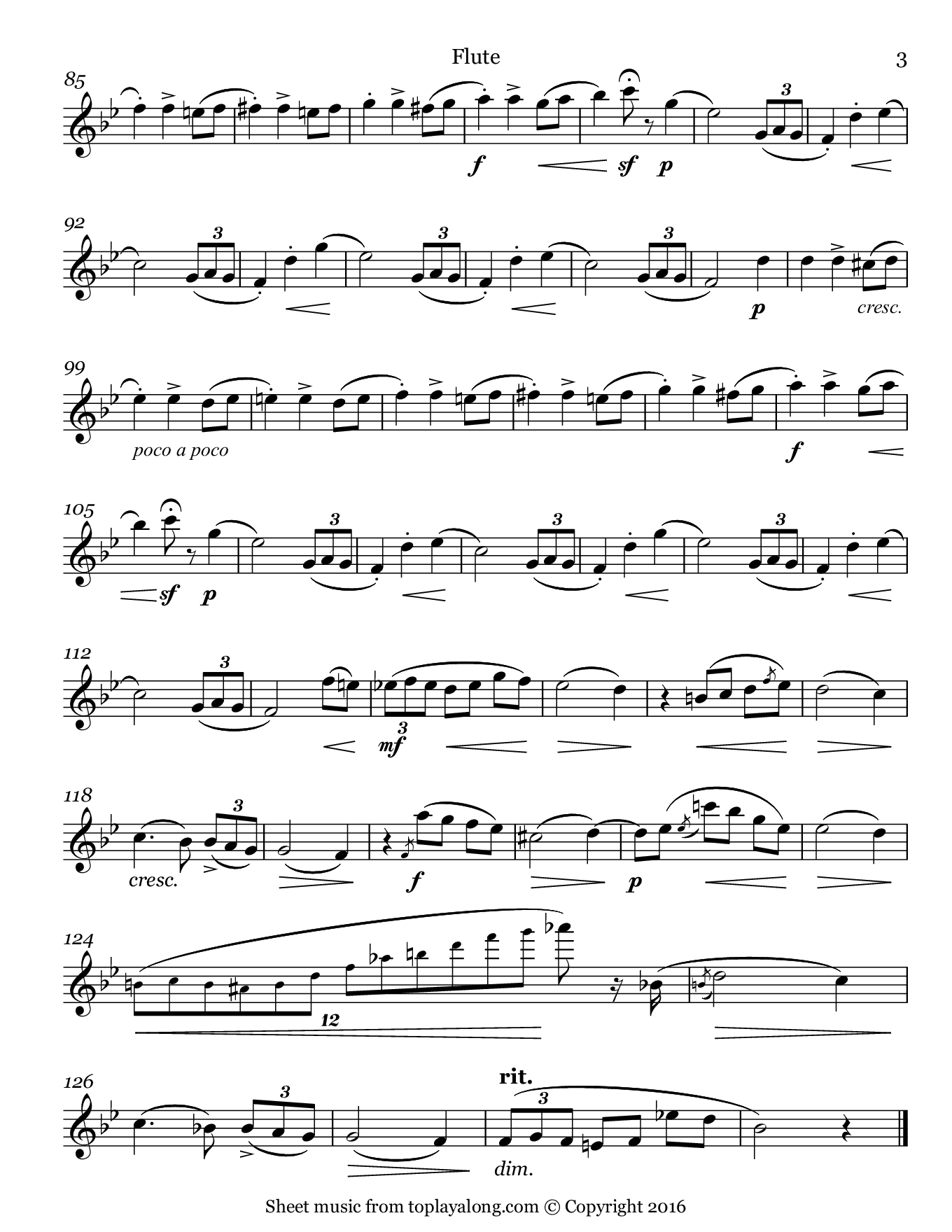 L'adieu Waltz Op. 69 No. 1 by Chopin. Sheet music for Flute, page 3.