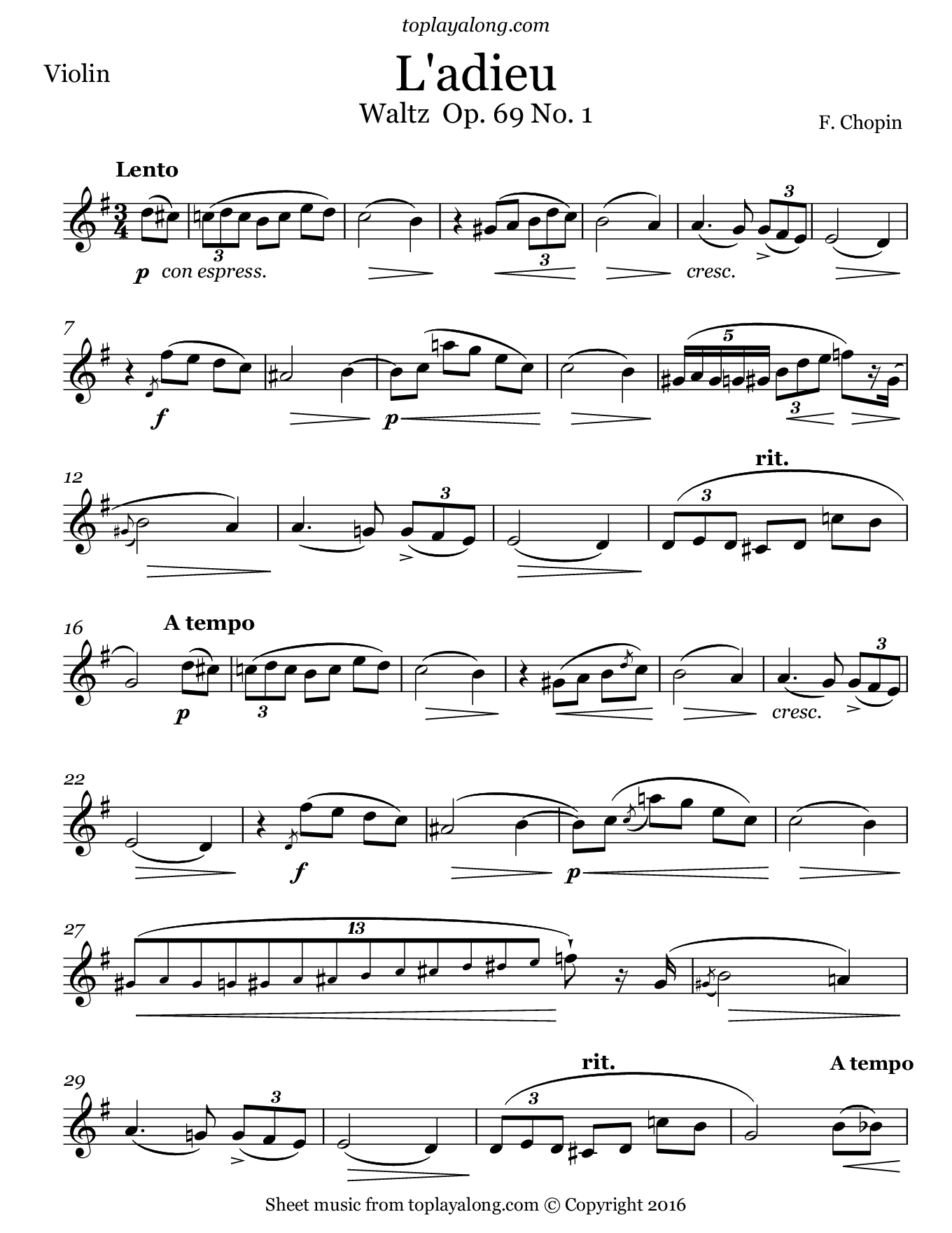 L'adieu Waltz Op. 69 No. 1 by Chopin. Sheet music for Violin, page 1.