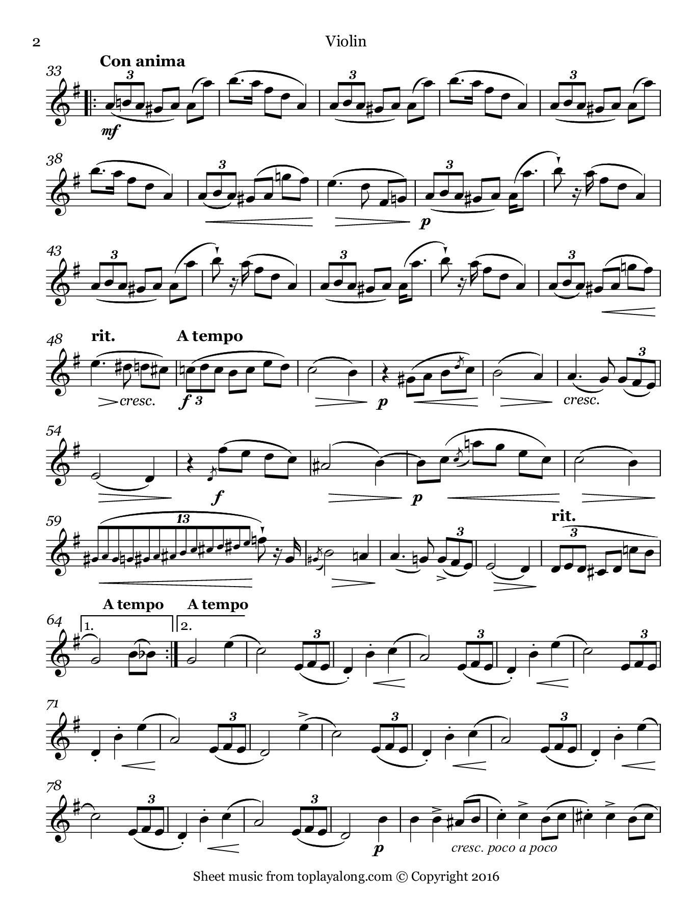 L'adieu Waltz Op. 69 No. 1 by Chopin. Sheet music for Violin, page 2.