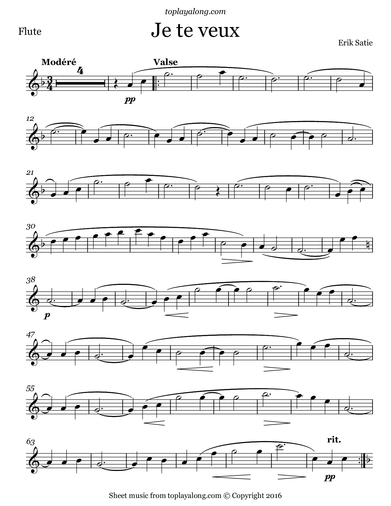 Je te veux by Satie. Sheet music for Flute, page 1.