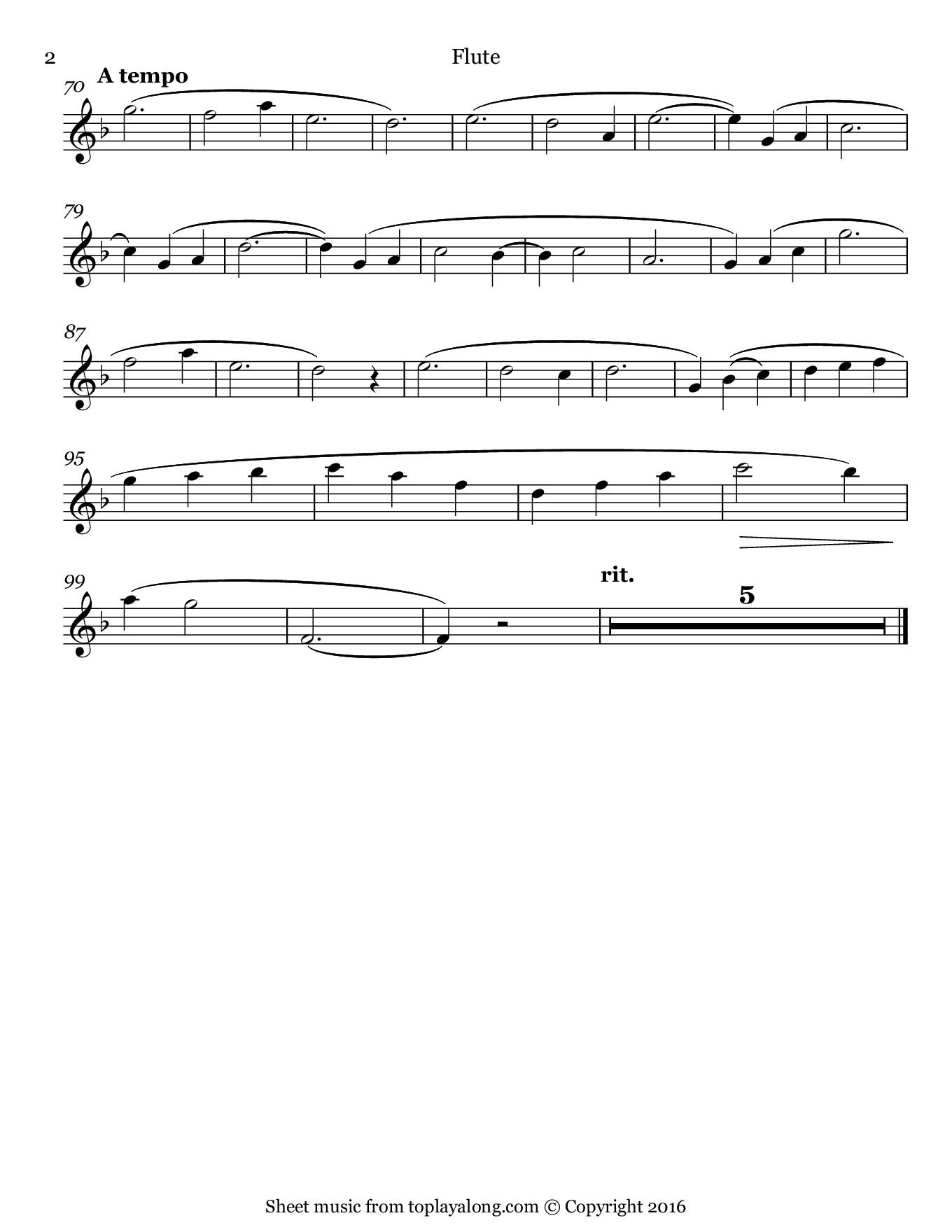 Je te veux by Satie. Sheet music for Flute, page 2.